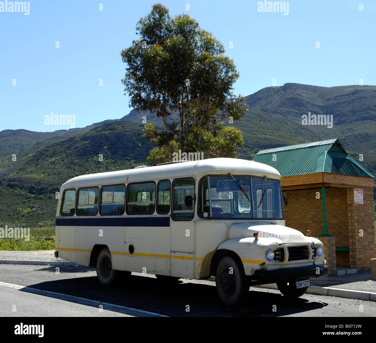 Empty School Bus, Western Cape, South Africa, Africa Stock