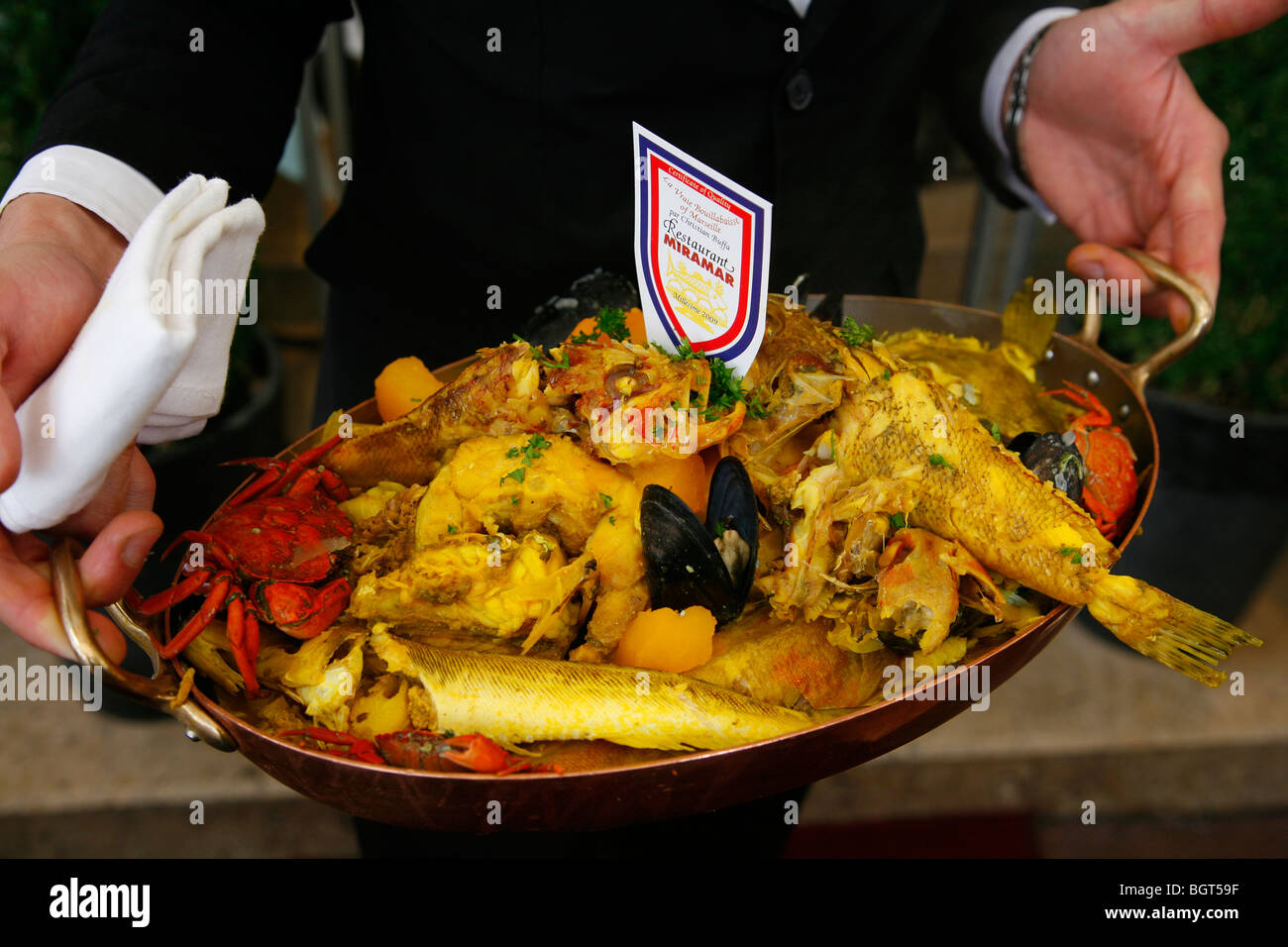 Bouillabaisse dish at restaurant miramar in the le vieux port area stock photo royalty free - Bouillabaisse marseille vieux port ...