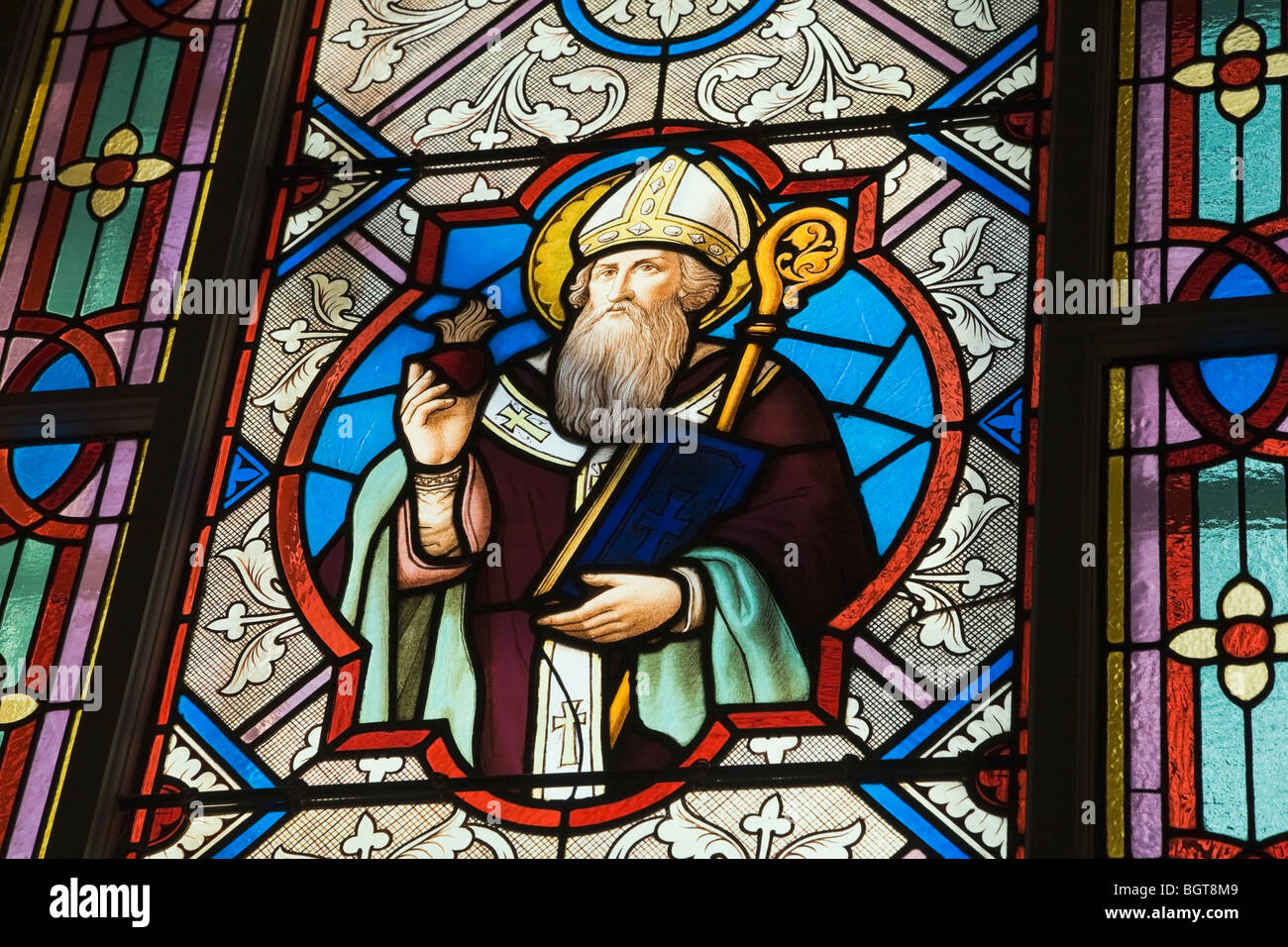Stained Glass Window Decorated With A Religious Figure Saint Francois De Sales Church Laval Quebec Canada