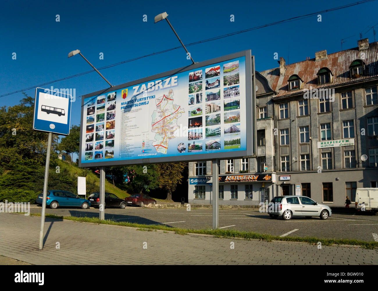 Tourist Information Sign Map At Bus Stop On A Road High Street - Zabrze map