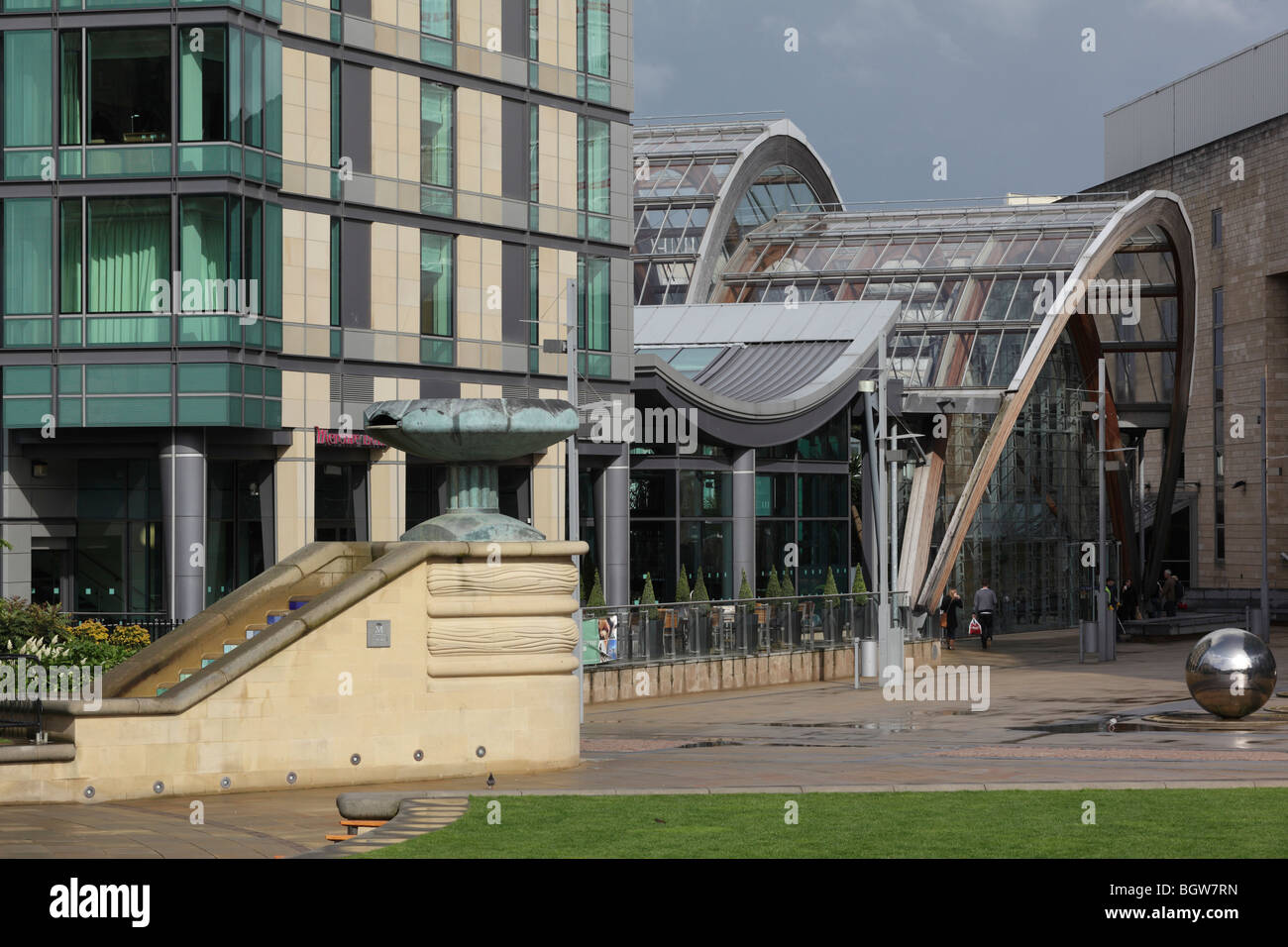 peace garden with mercure hotel and entrance to winter garden