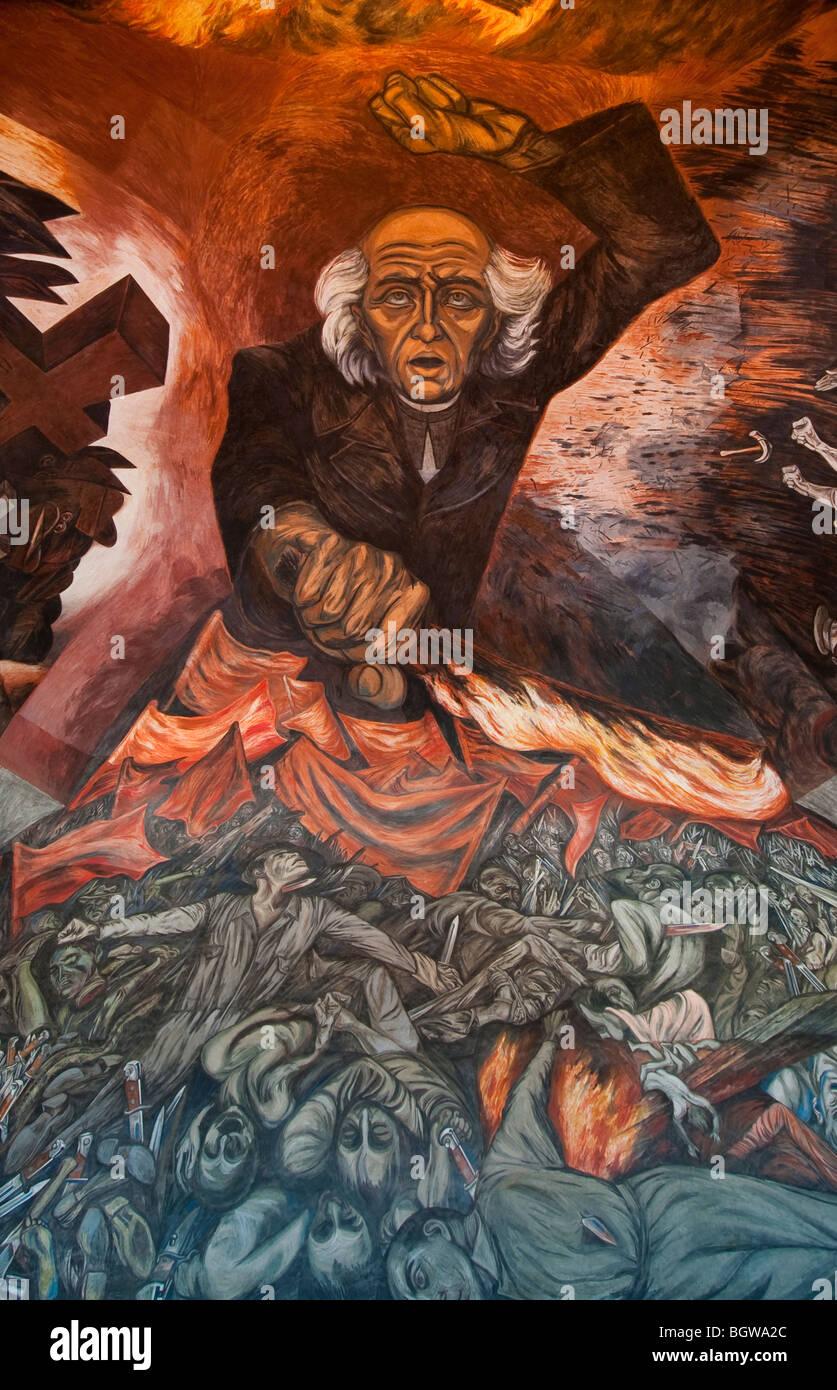 Central portion of the flaming hidalgo mural by jos for Aviso de ocasion mural guadalajara