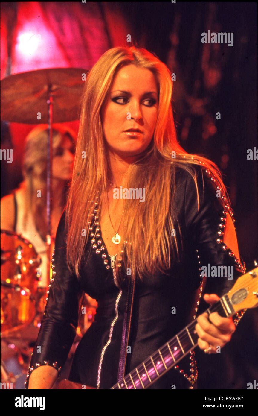 Runaways us girl group in 1977 with lita ford and sandy west behind on drums