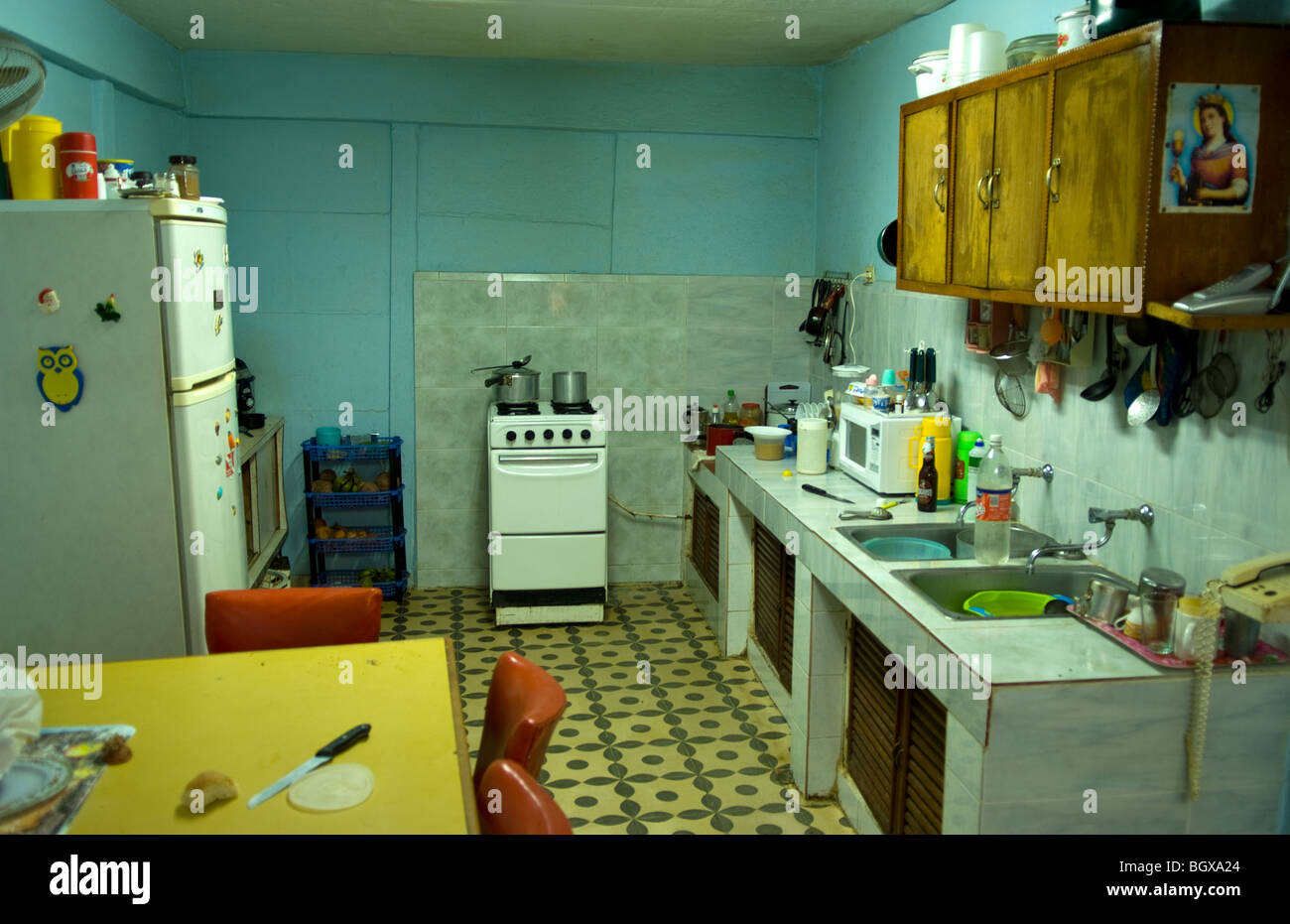 Kitchen of local home in old colonial village in trinidad for Kitchen designs trinidad