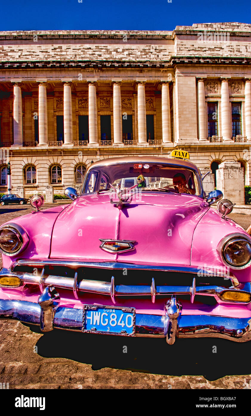 Old Pink Chevy American classic cars in central Havana Cuba near ...