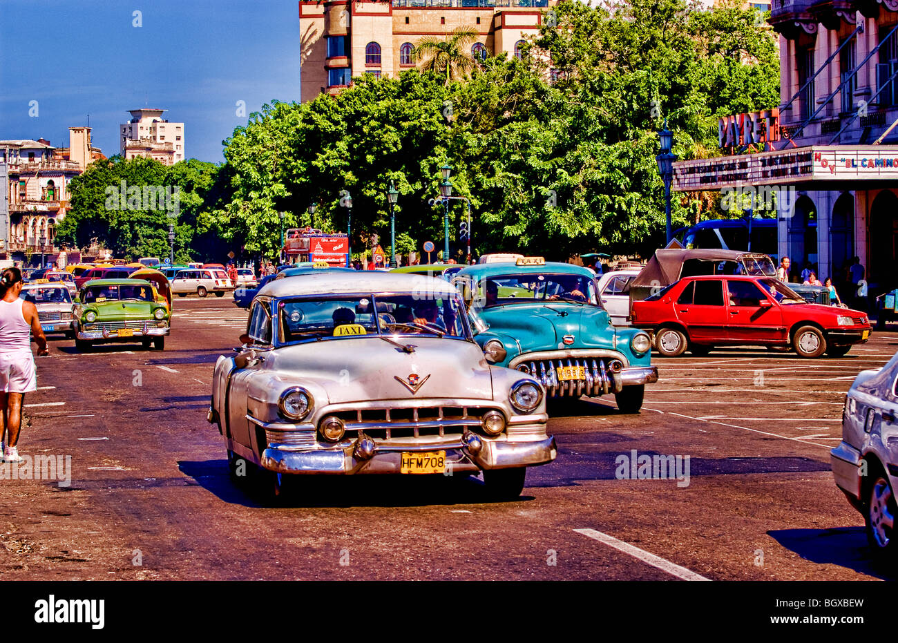 Old American Classic Cars In Central Havana Cuba Near Capitol