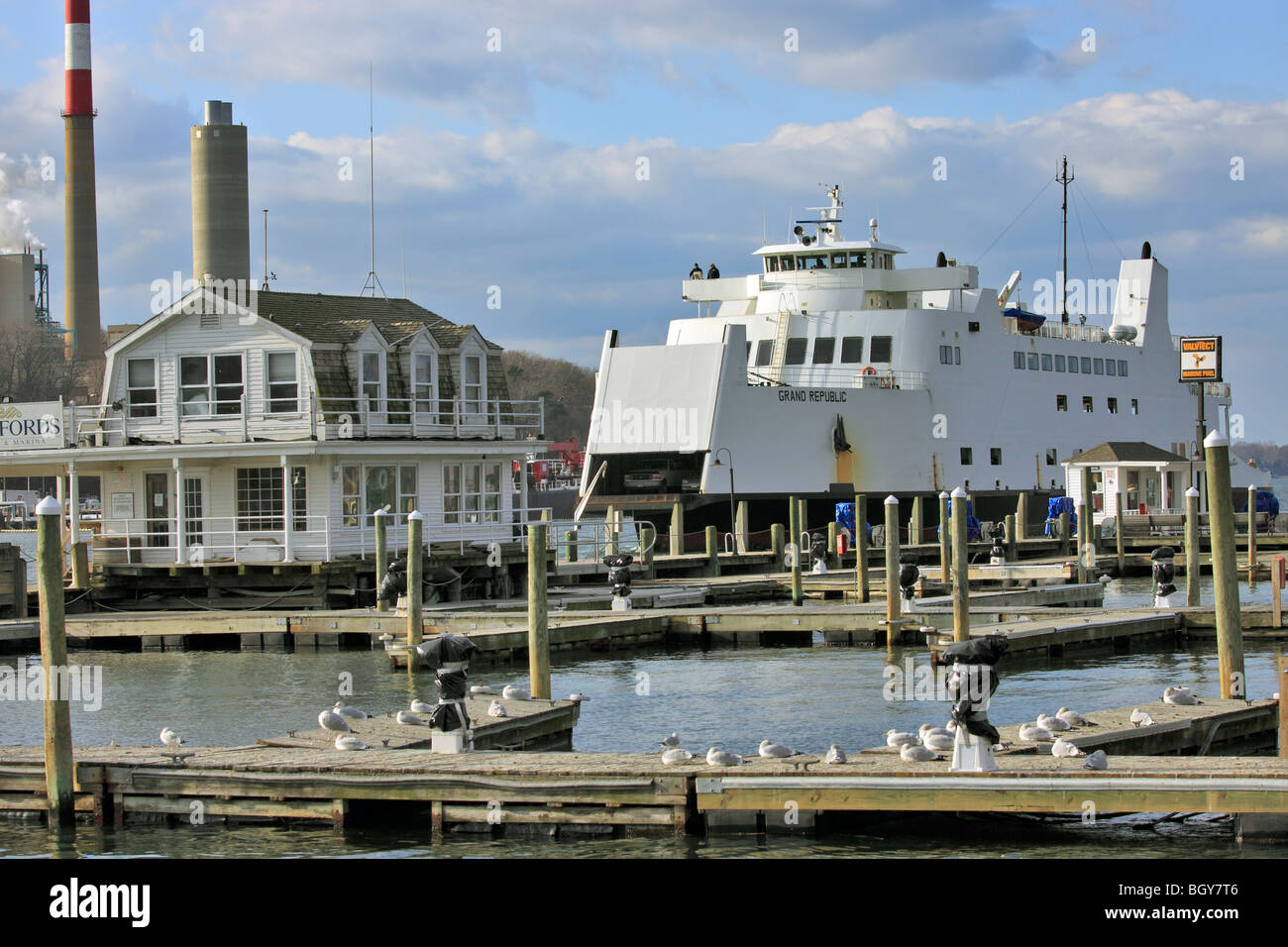 car and passenger ferry approaches port jefferson harbor after stock photo royalty free image. Black Bedroom Furniture Sets. Home Design Ideas