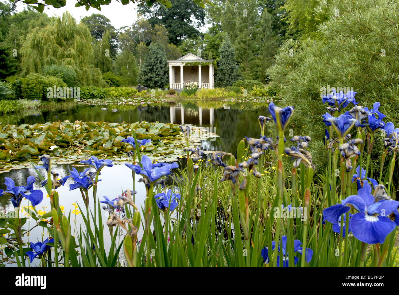 Large English Country Garden With Gazebo Viewed Across A