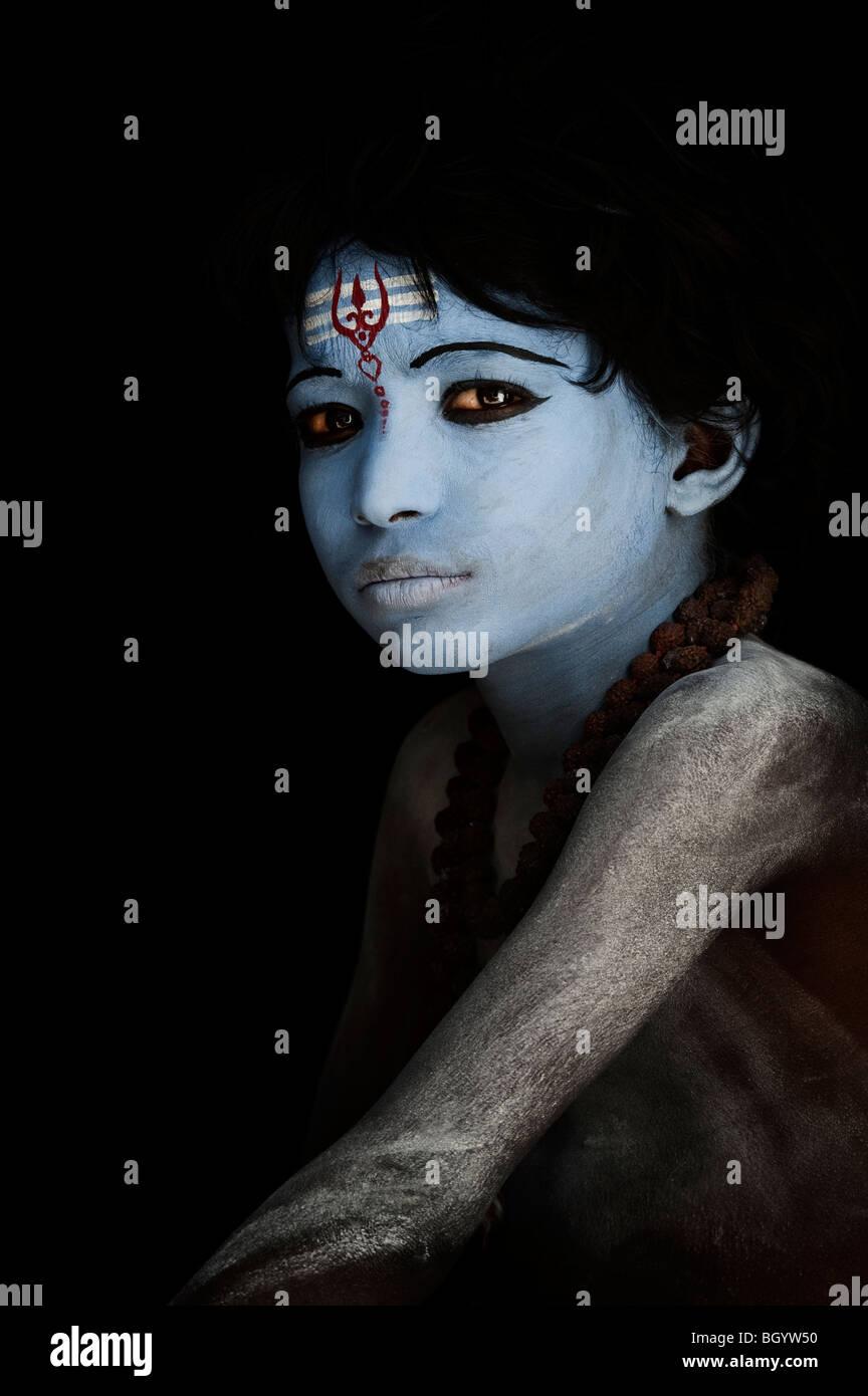Indian blue faced god