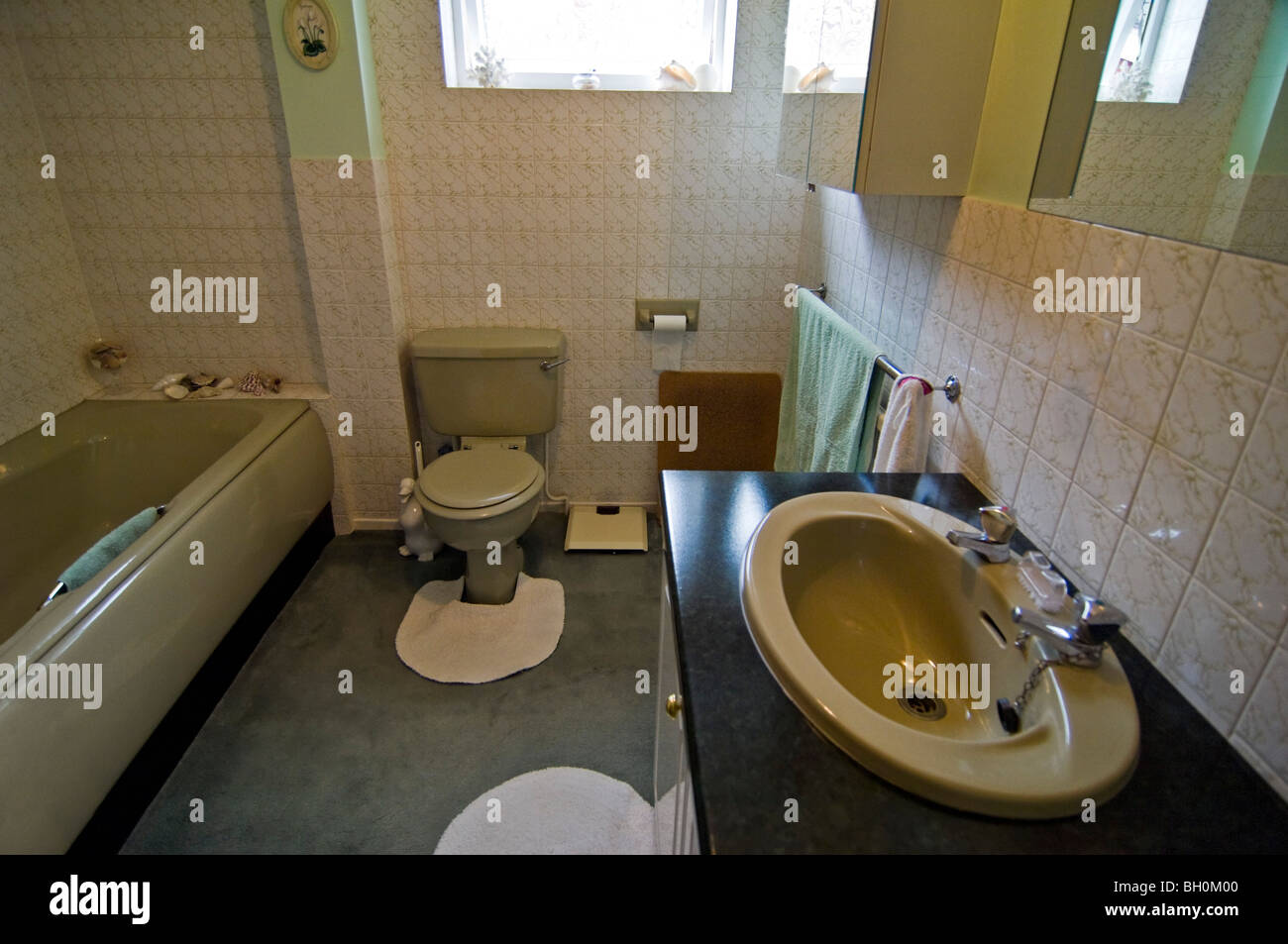 Horizontal Wide Angle Interior Of An Old Fashioned 80 39 S Bathroom With Stock Photo Royalty Free