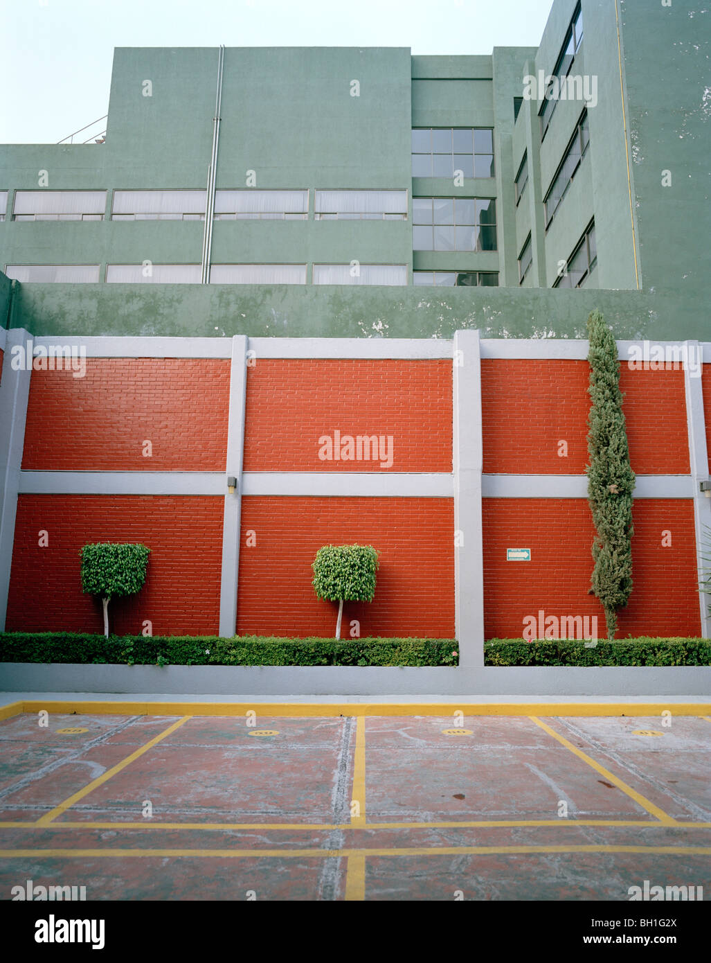 empty parking lot at the backyard of a hotel coyoacan mexico