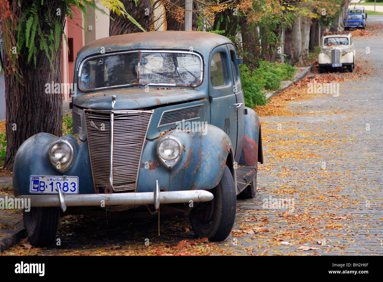 old cars at colonia del sacramento street uruguay south america stock photo royalty free. Black Bedroom Furniture Sets. Home Design Ideas