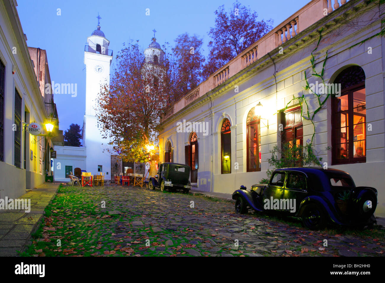 Old Street At Colonia Del Sacramento With Old Car And
