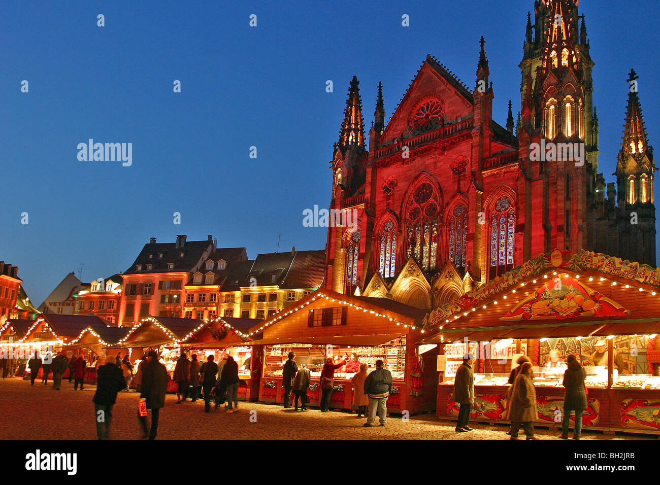 christmas market in front of the church st etienne mulhouse place de stock photo royalty free. Black Bedroom Furniture Sets. Home Design Ideas