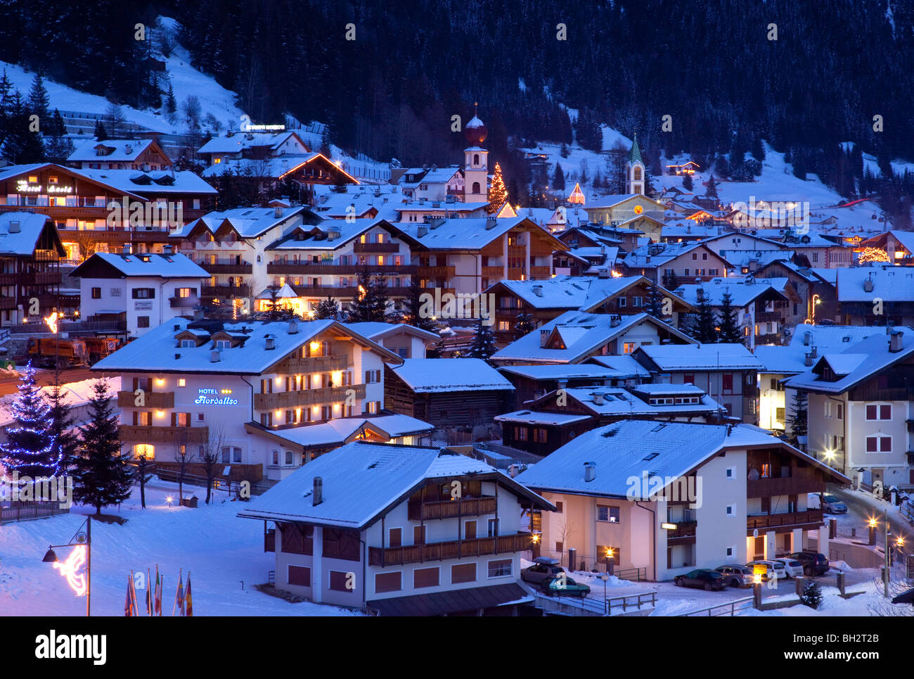 Village Of Canazei In Winter Snow The Dolomites Val Di Fassa - Italy in the winter