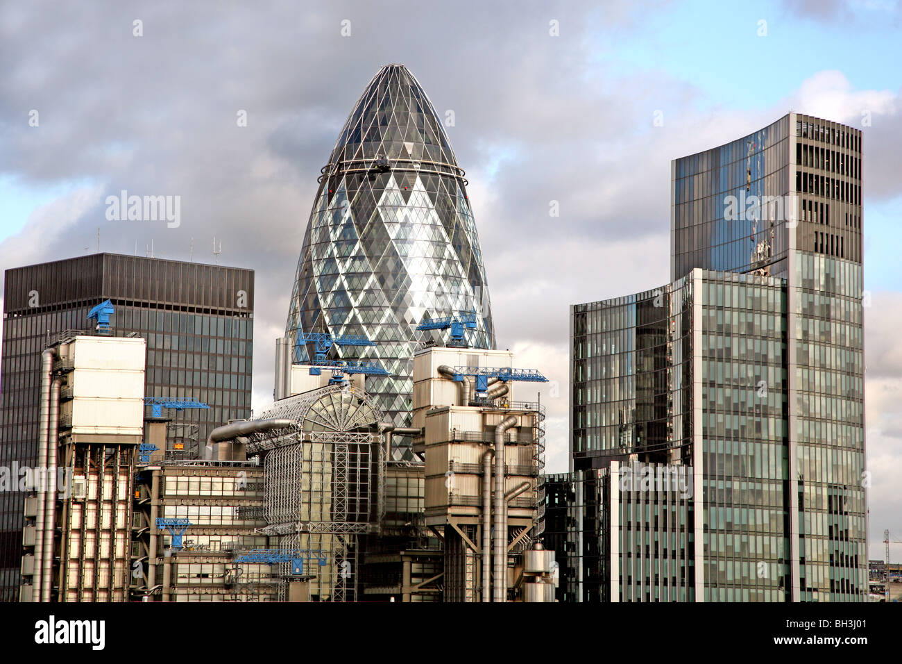 stock photo the gherkin and lloyds building in city of london
