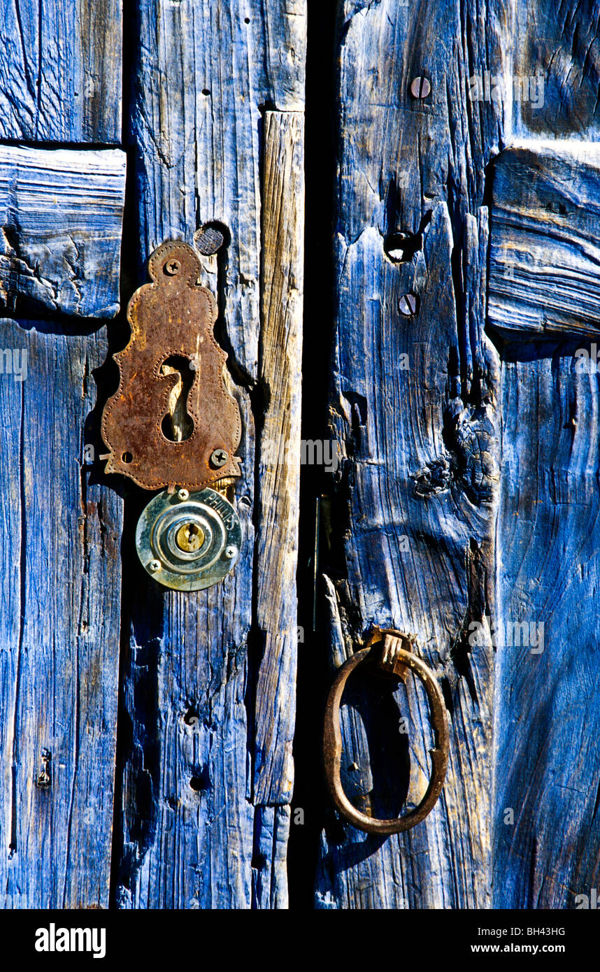 Close up of old blue door with copper keyhole & Close up of old blue door with copper keyhole Stock Photo Royalty ... pezcame.com