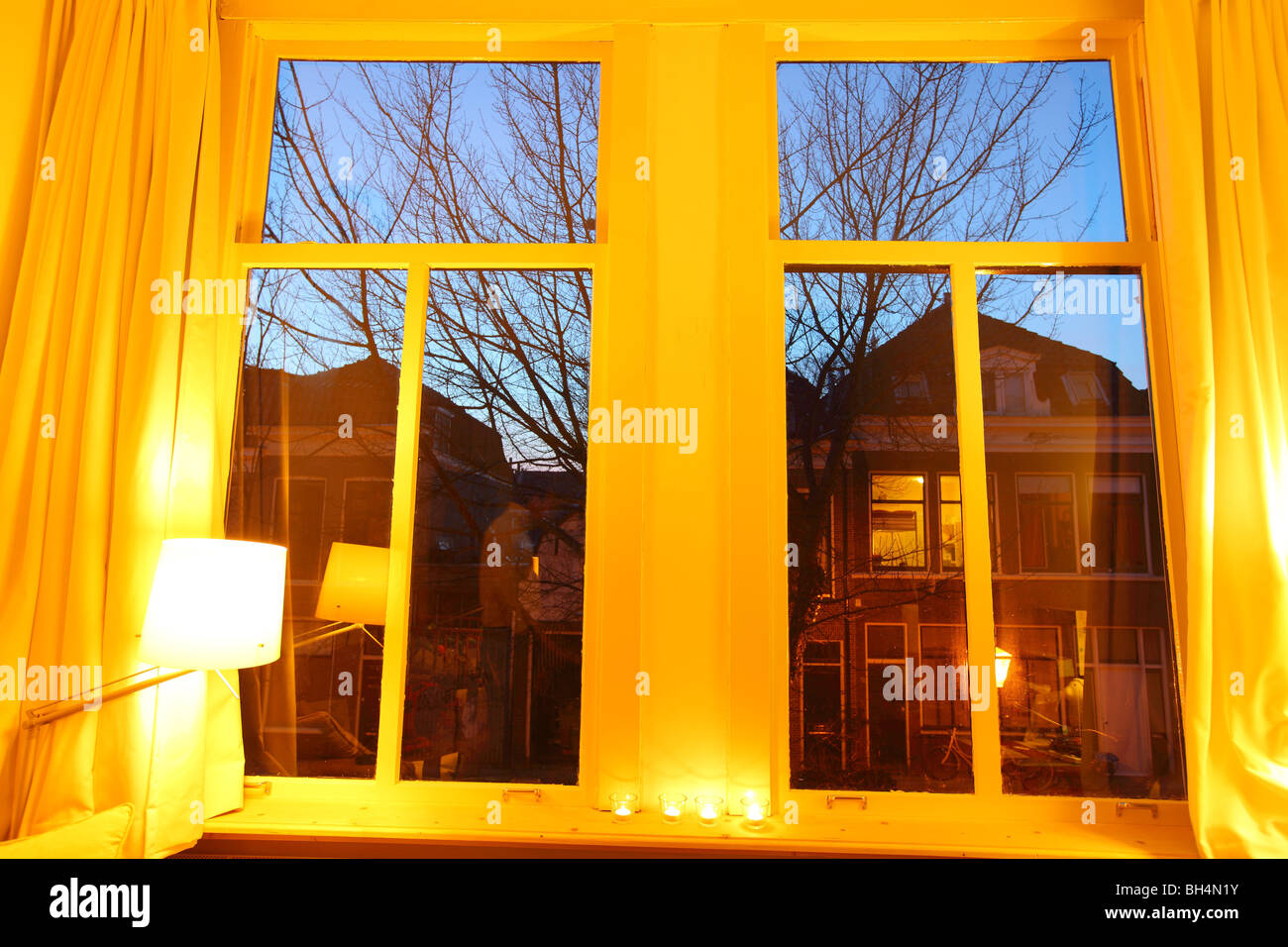 Inside house windows at night - Interior Of A House Mansion Inside Leiden Evening Night Winter Holland The Netherlands