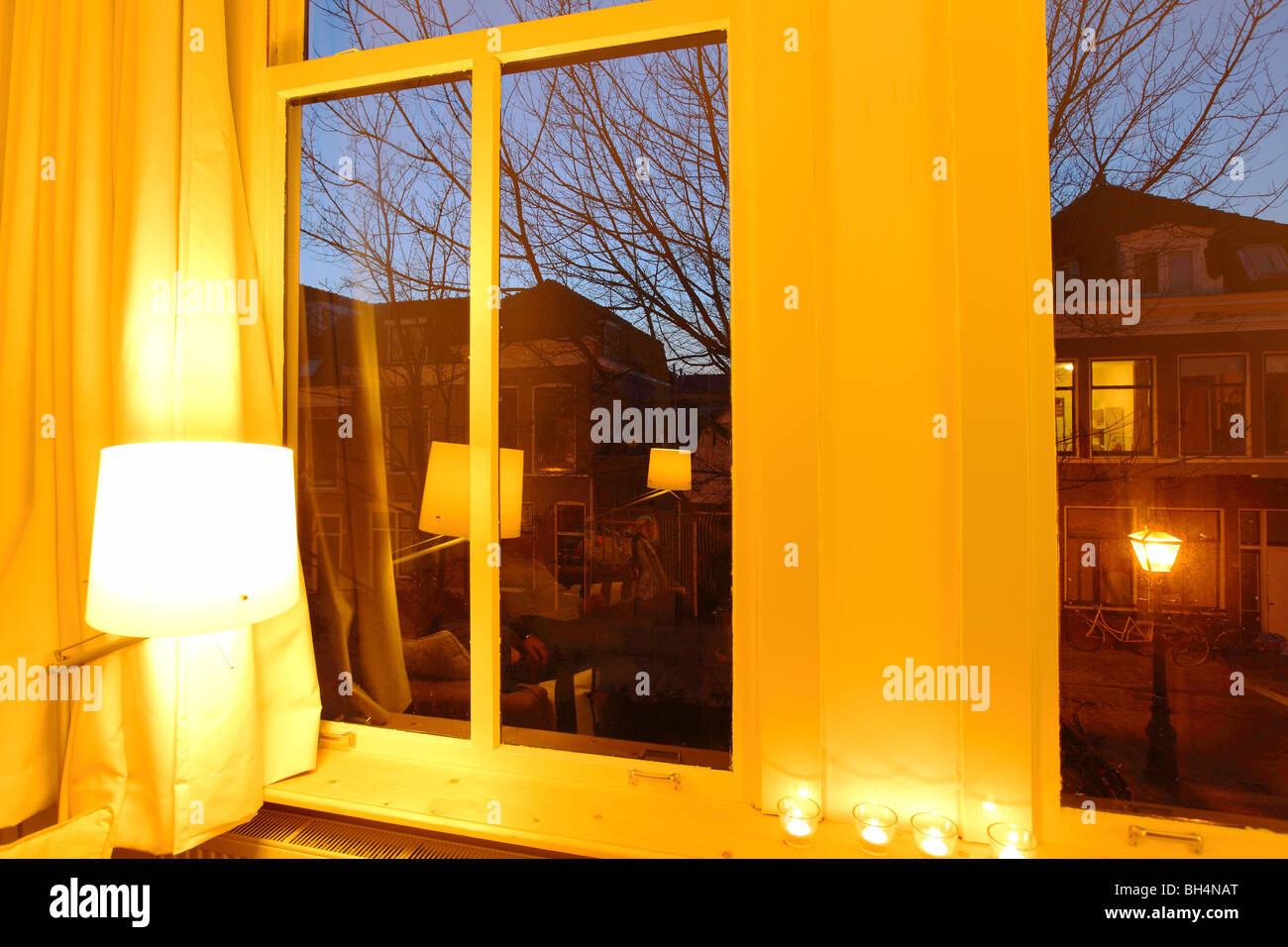 Inside house windows at night - Interior Of A House Mansion Inside Leiden Evening Night Winter