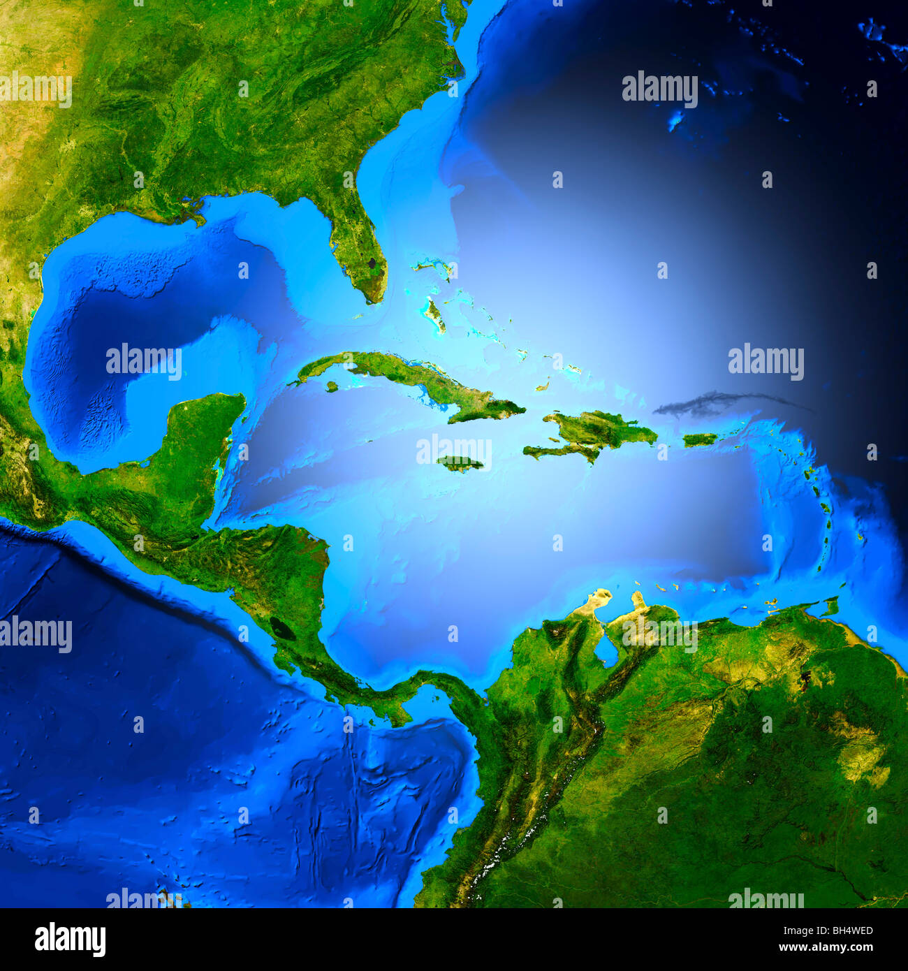 map of central america showing the caribbean sea the gulf of