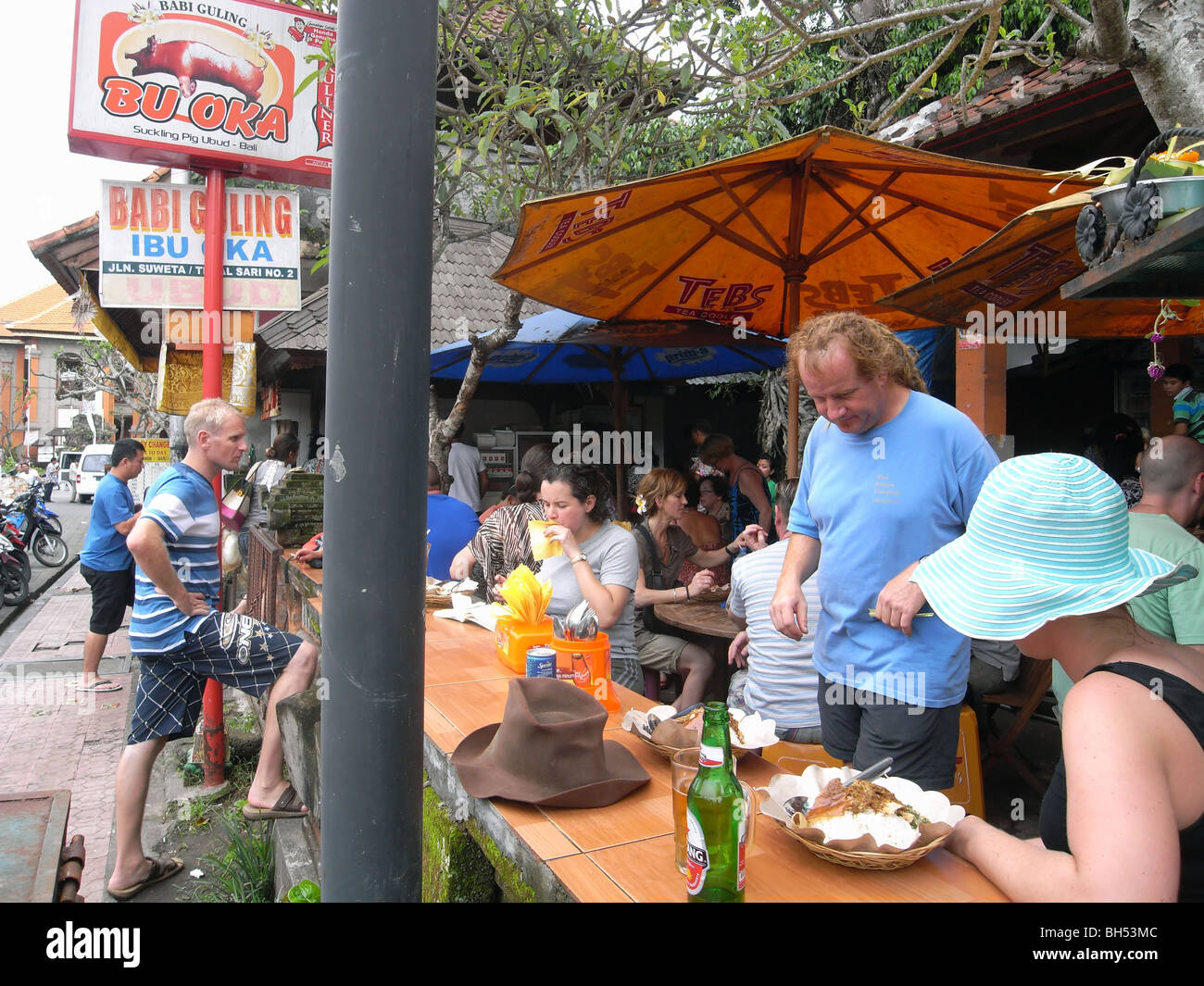 Tourists Eating At Babi Guling Restaurant In Ubud Bali Indonesia
