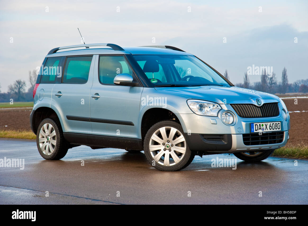 Front Side View Skoda Yeti Suv Model In Light Blue Metallic