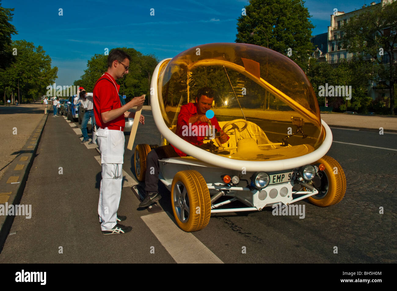 futuristic funny looking electric car courreges zooop ev participating in michelin challenge bibendum 2006 france