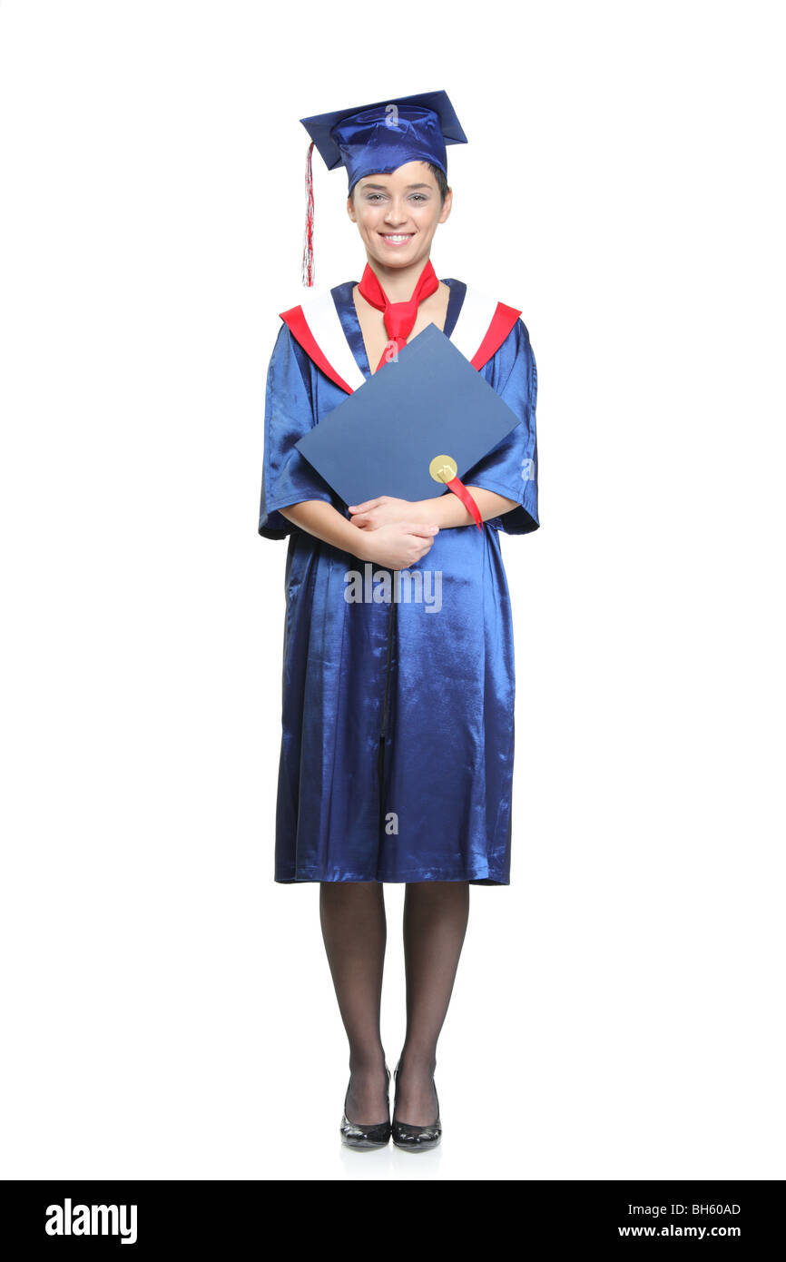 Student with a graduation gown posing, isolated on white ...