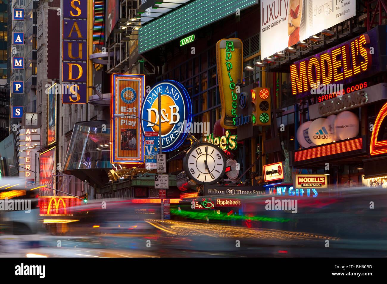 USA, New York City, Manhattan, Times Square, Neon lights ...