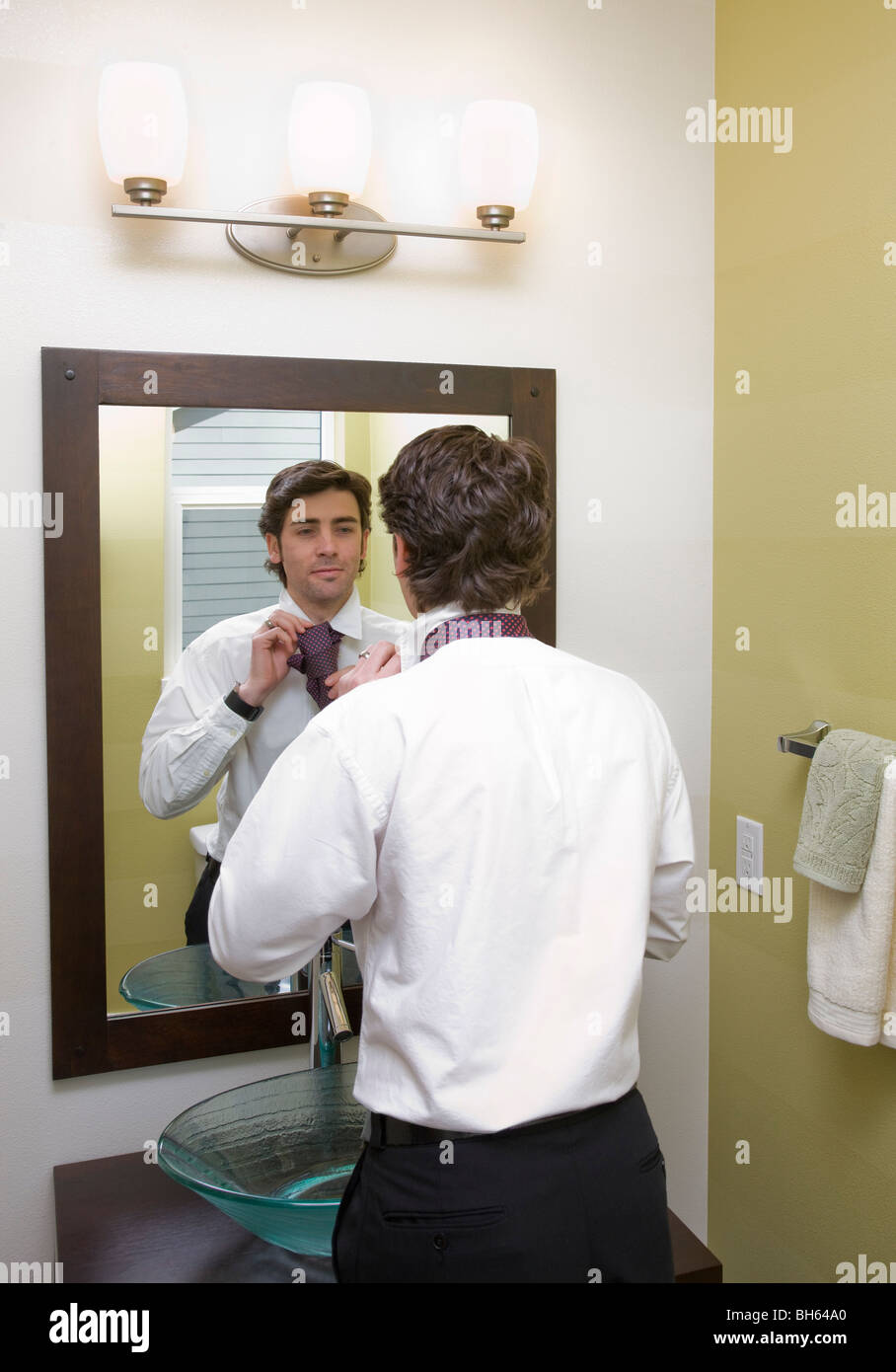 Man Getting Dressed In Mirror Stock Photo 27794648 Alamy
