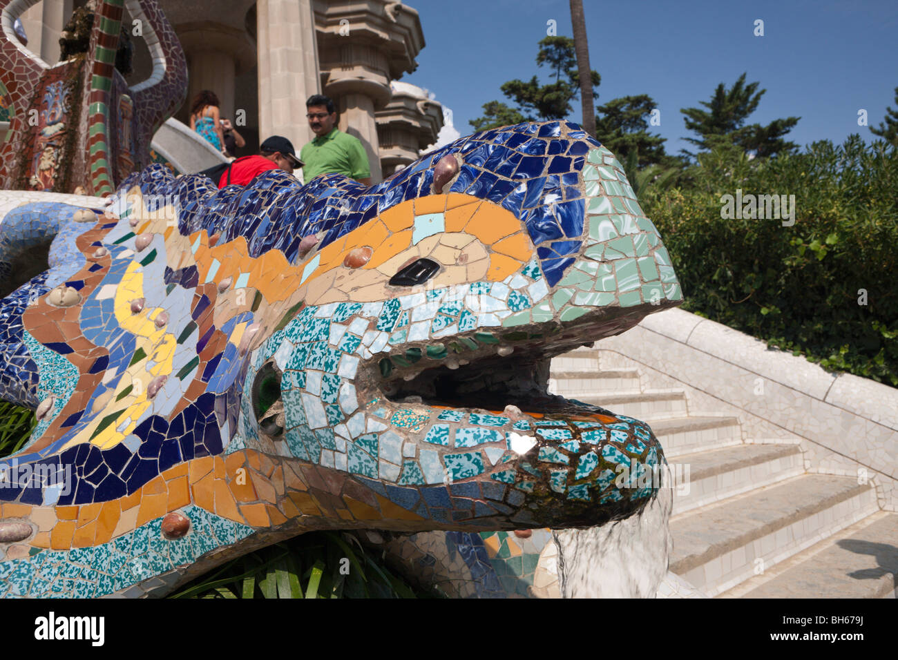 Mosaic Dragon Fountain In Park Guell Of Architect Antoni Gaudi