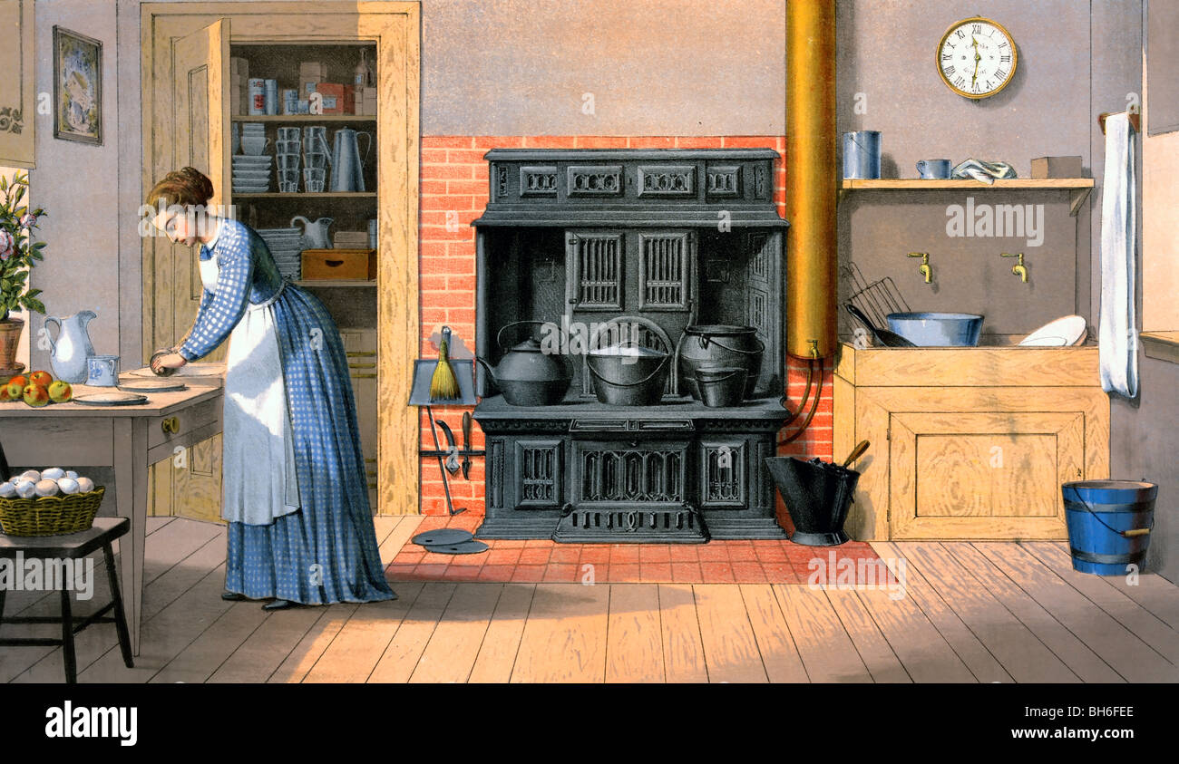 Stock Photo   Woman Working In An Old Fashioned Kitchen, 1875 Great Ideas