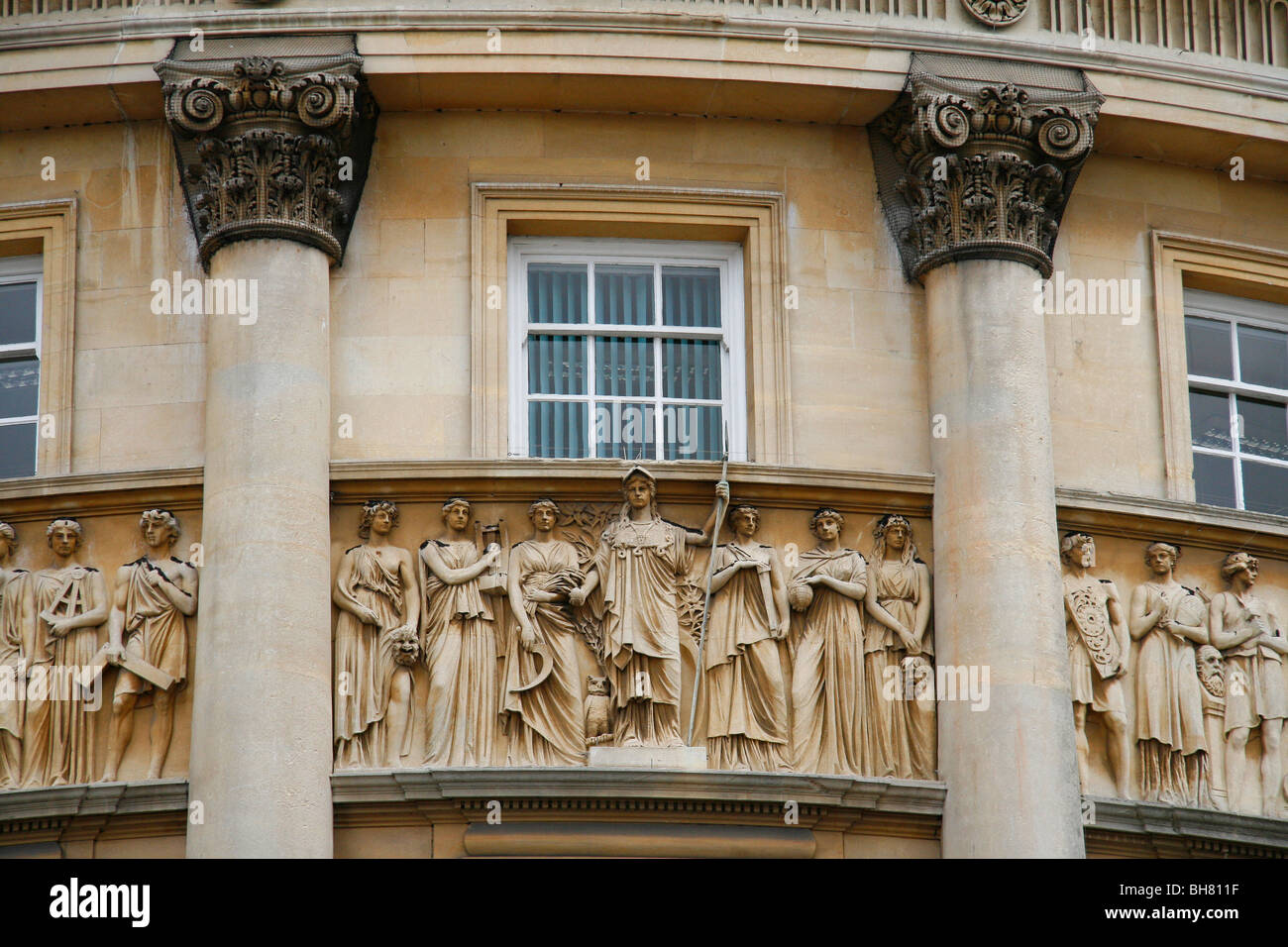 Architecture With Carved Stone Frieze And Columns On The Exterior Of Guildhall In Bath Somerset England