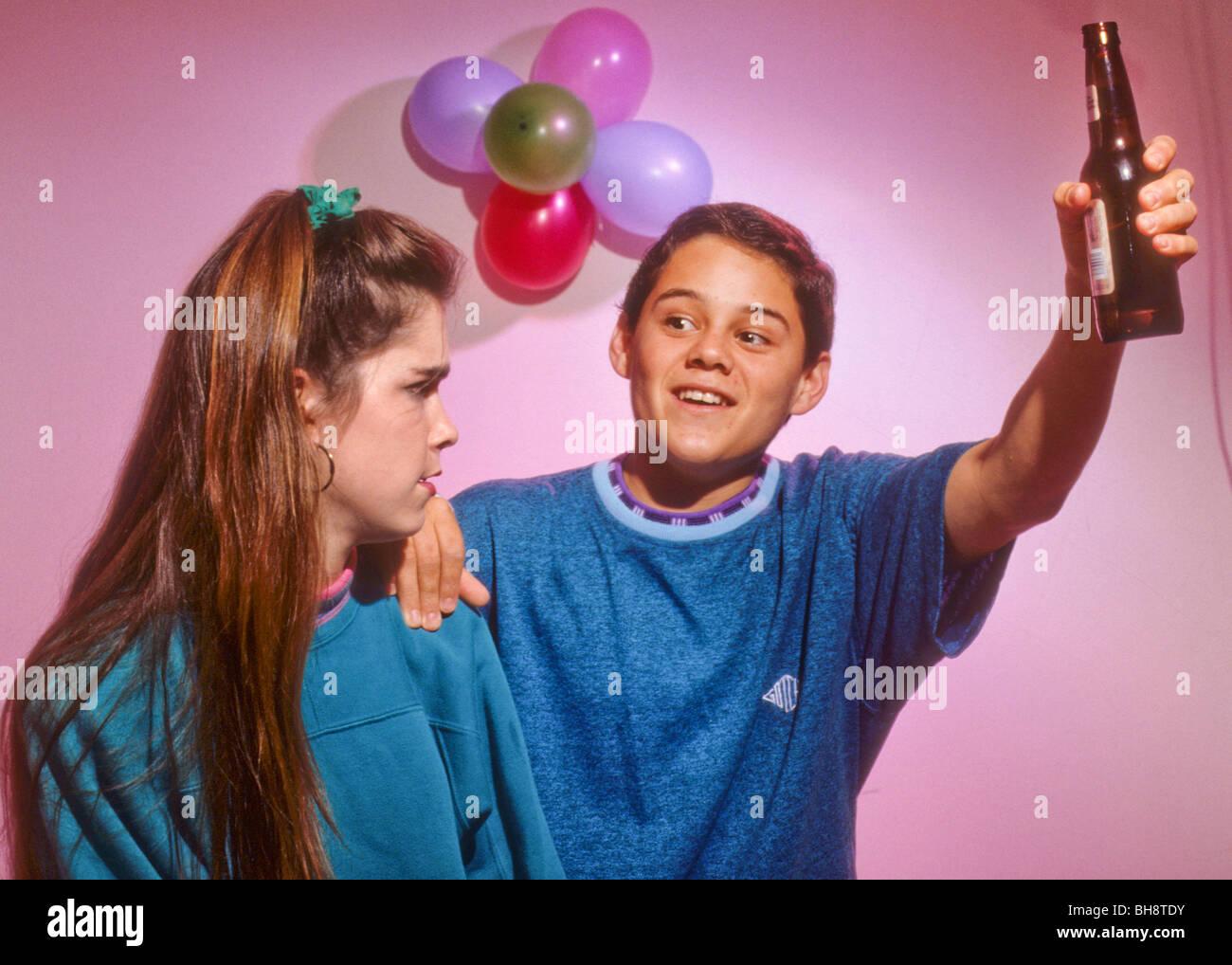 teen drink alcohol drug peer pressure offer tempt boy girl ...