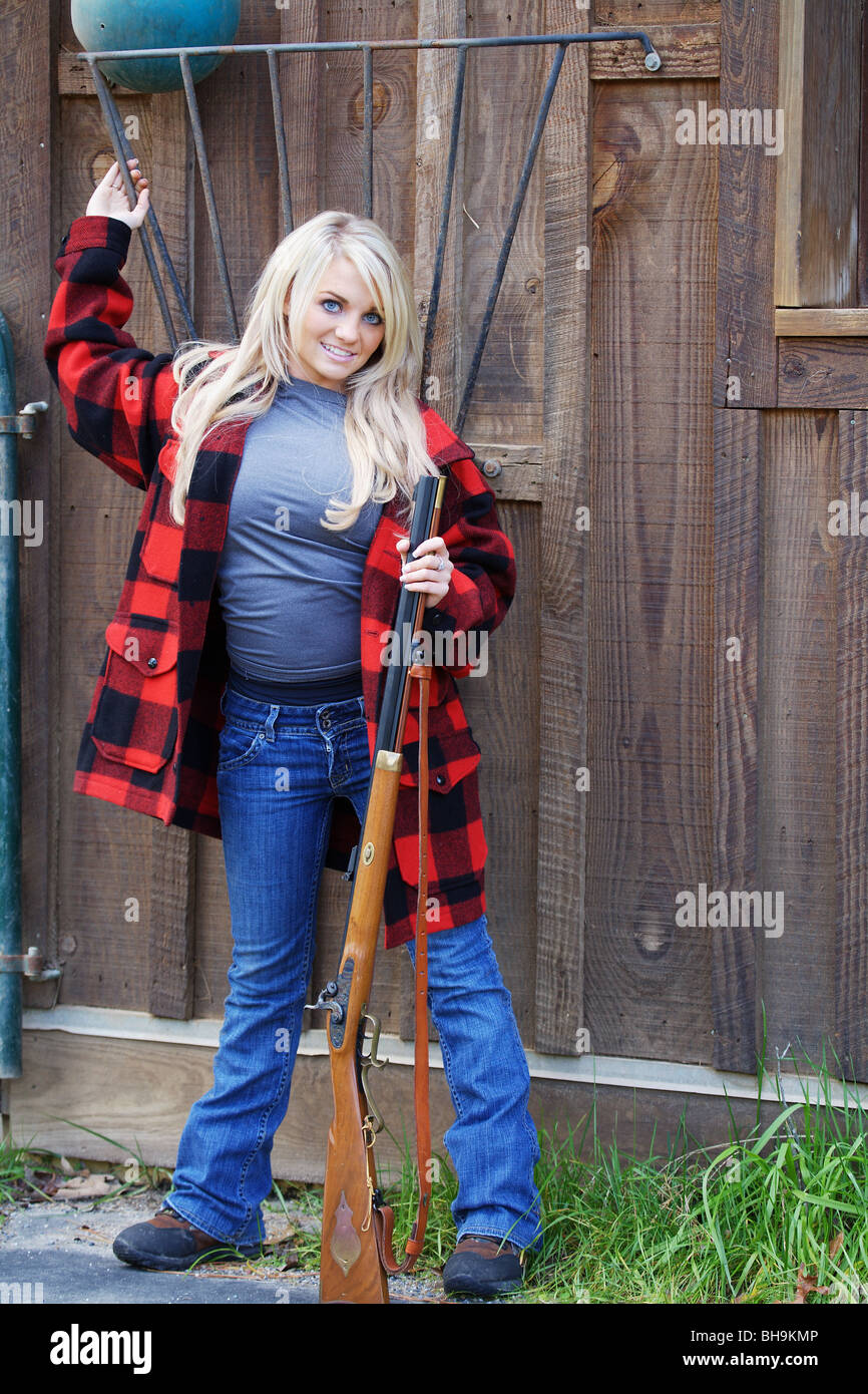 Young Woman 21 Y O Female Hunter Holding Marlin 30 30