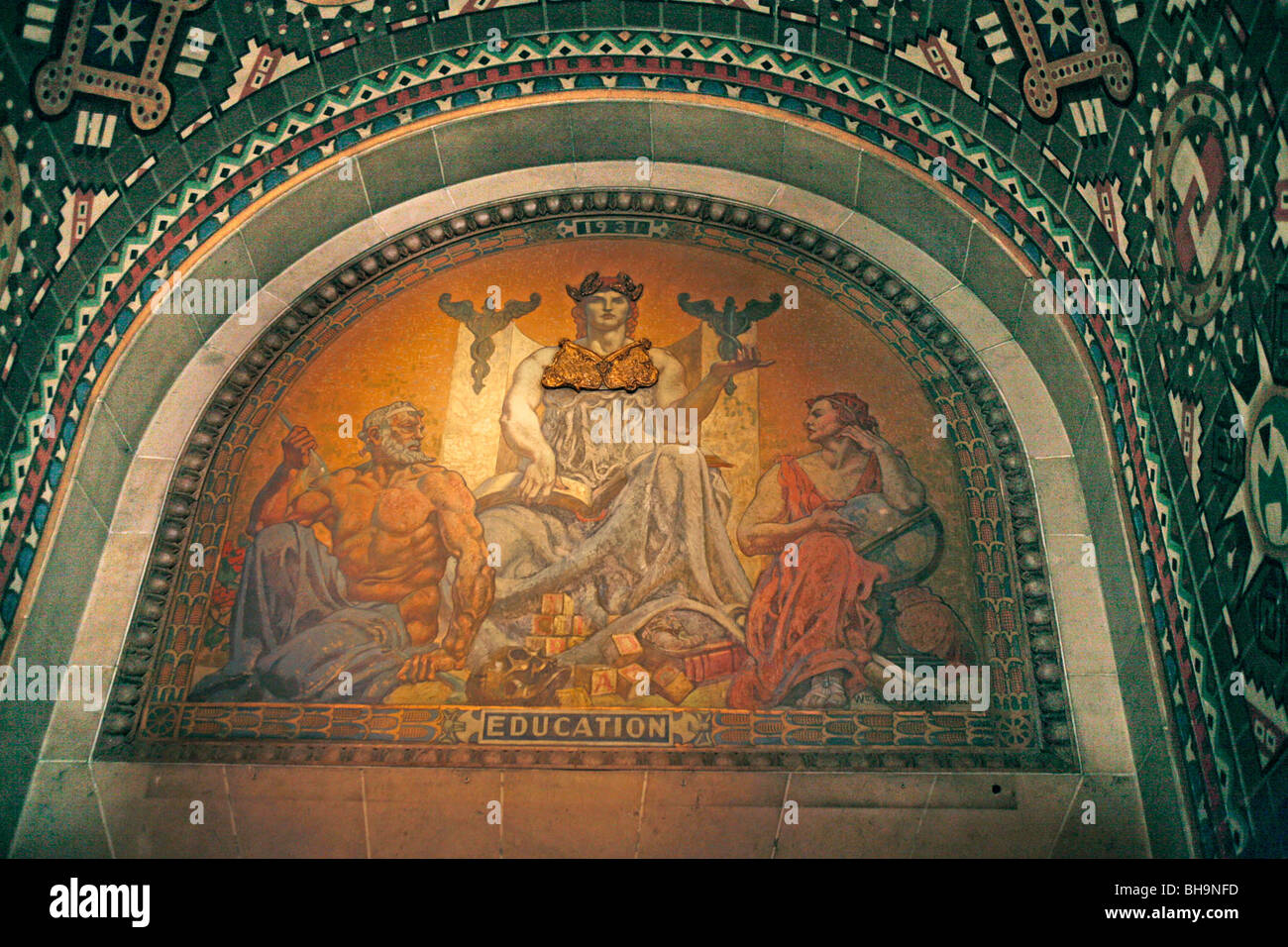 Buffalo new york city hall education mural stock photo for Education mural