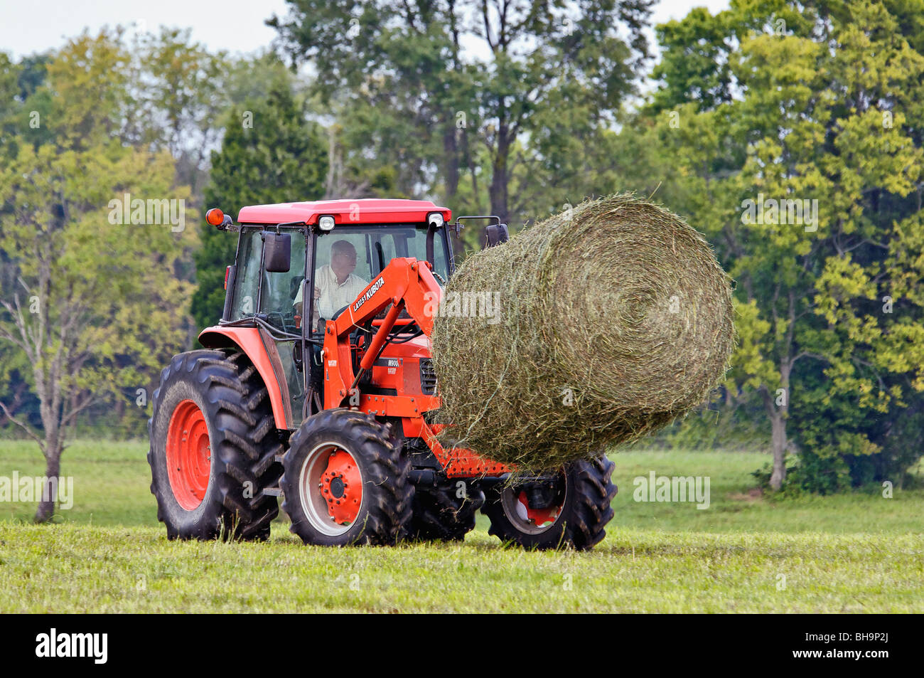 Kubota tractors for sale in kentucky - Man Moving Round Hay Bale With Kubota M9000 Tractor With La1251 Loader On Farm In Oldham County Kentucky