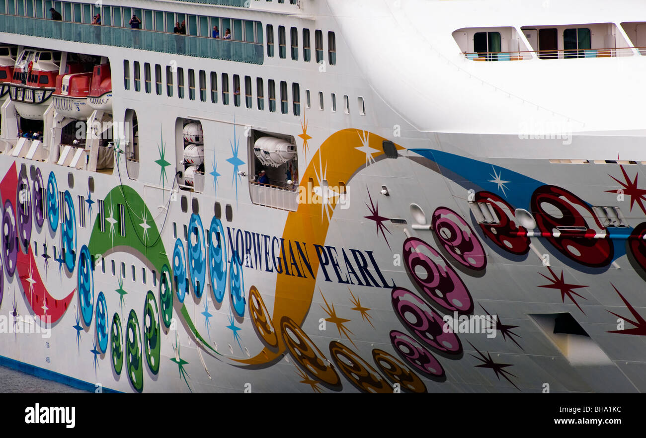 A View Of The Starboard Side Of The Norwegian Pearl Cruise Liner - Port or starboard side of cruise ship