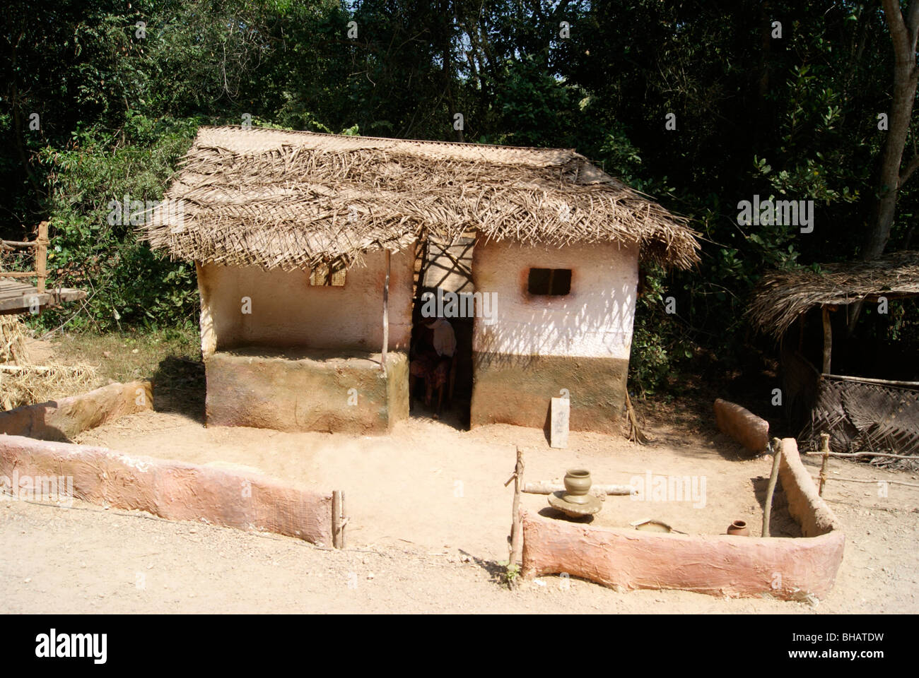 A Poor Man Hut In The Village Area Of India Coconut Leafs