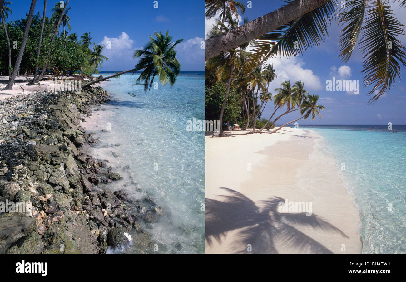 Beach erosion, left image in 1995, same view right image ...