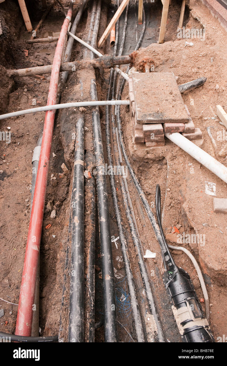 Utility Pipes And Cables : Exposed electrical gas and telecommunications cables