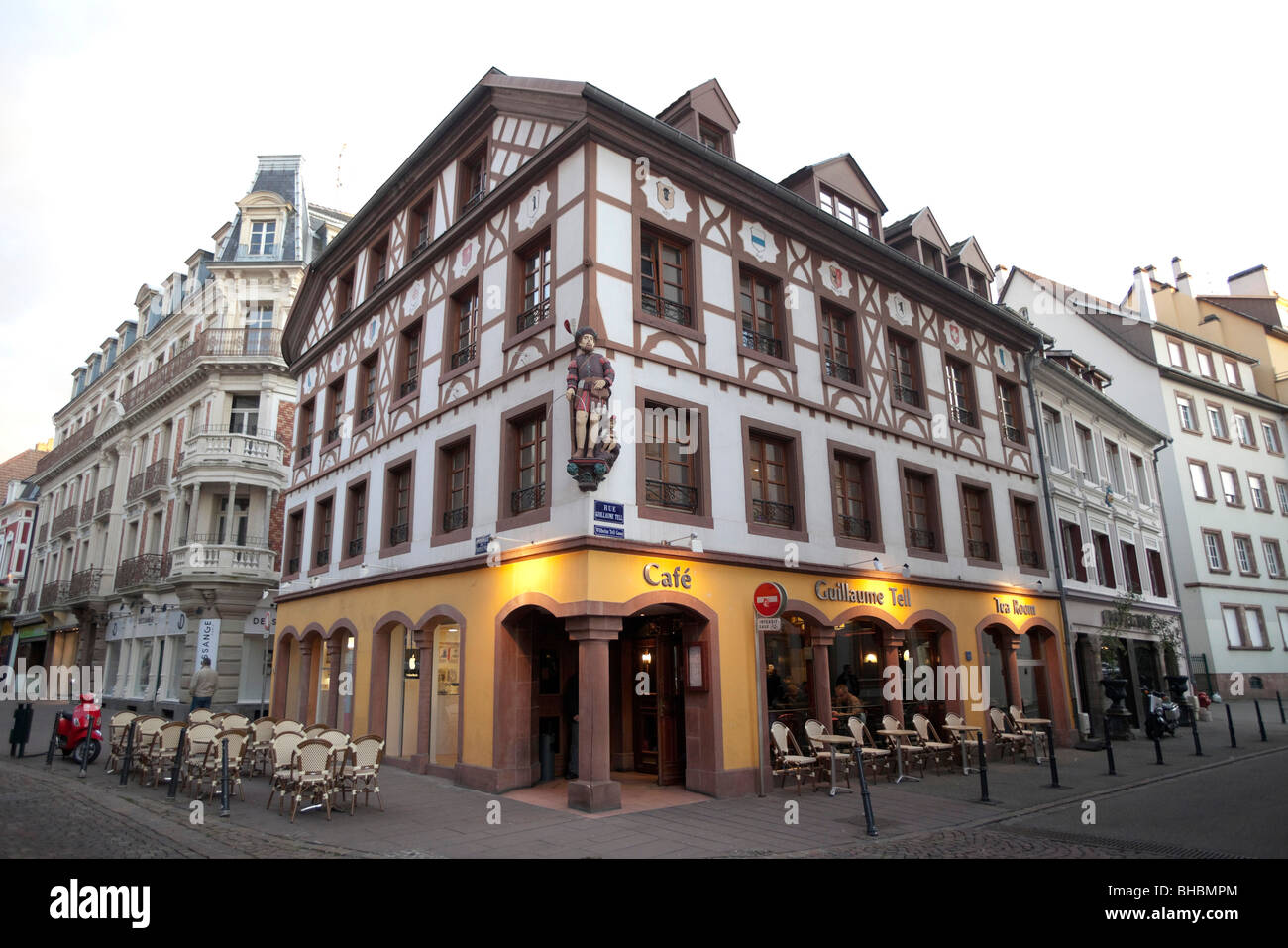 cafe restaurant rue guillaume wilhelm tell with statue mulhouse stock photo royalty free. Black Bedroom Furniture Sets. Home Design Ideas