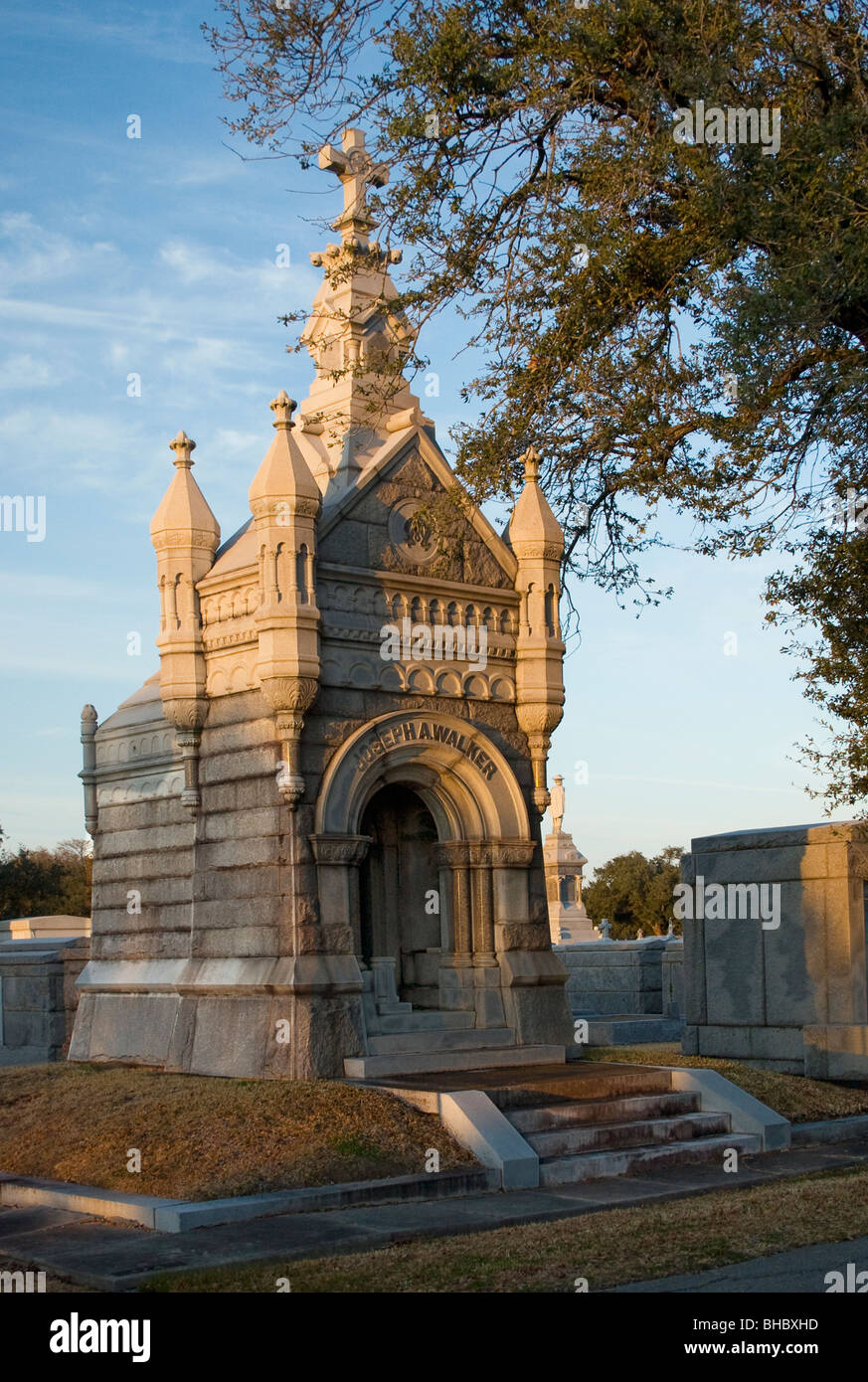 Gothic style castle tomb in metairie cemetery new orleans for Metairie architects
