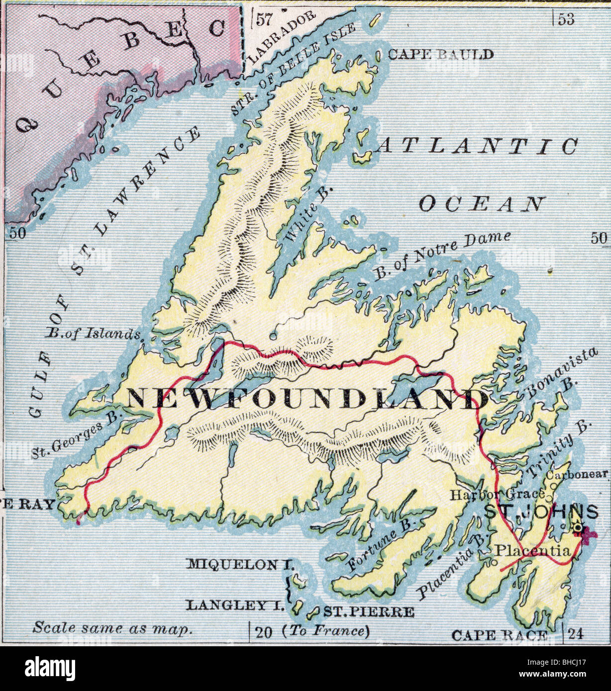 Original Old Map Of Newfoundland From Geography Textbook - Map of newfoundland