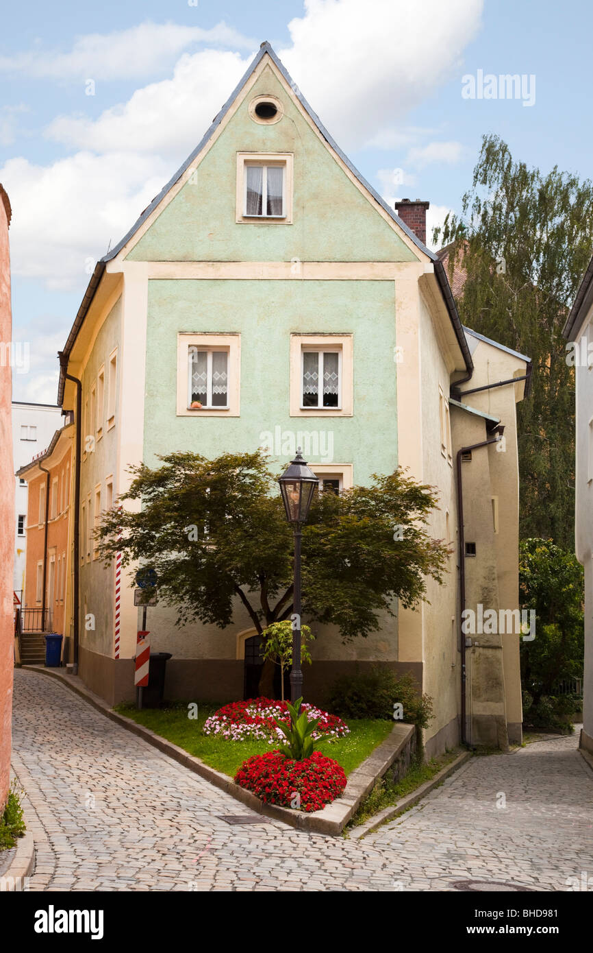 small house in a narrow cobbled street in passau bavaria germany stock photo 27952177 alamy. Black Bedroom Furniture Sets. Home Design Ideas