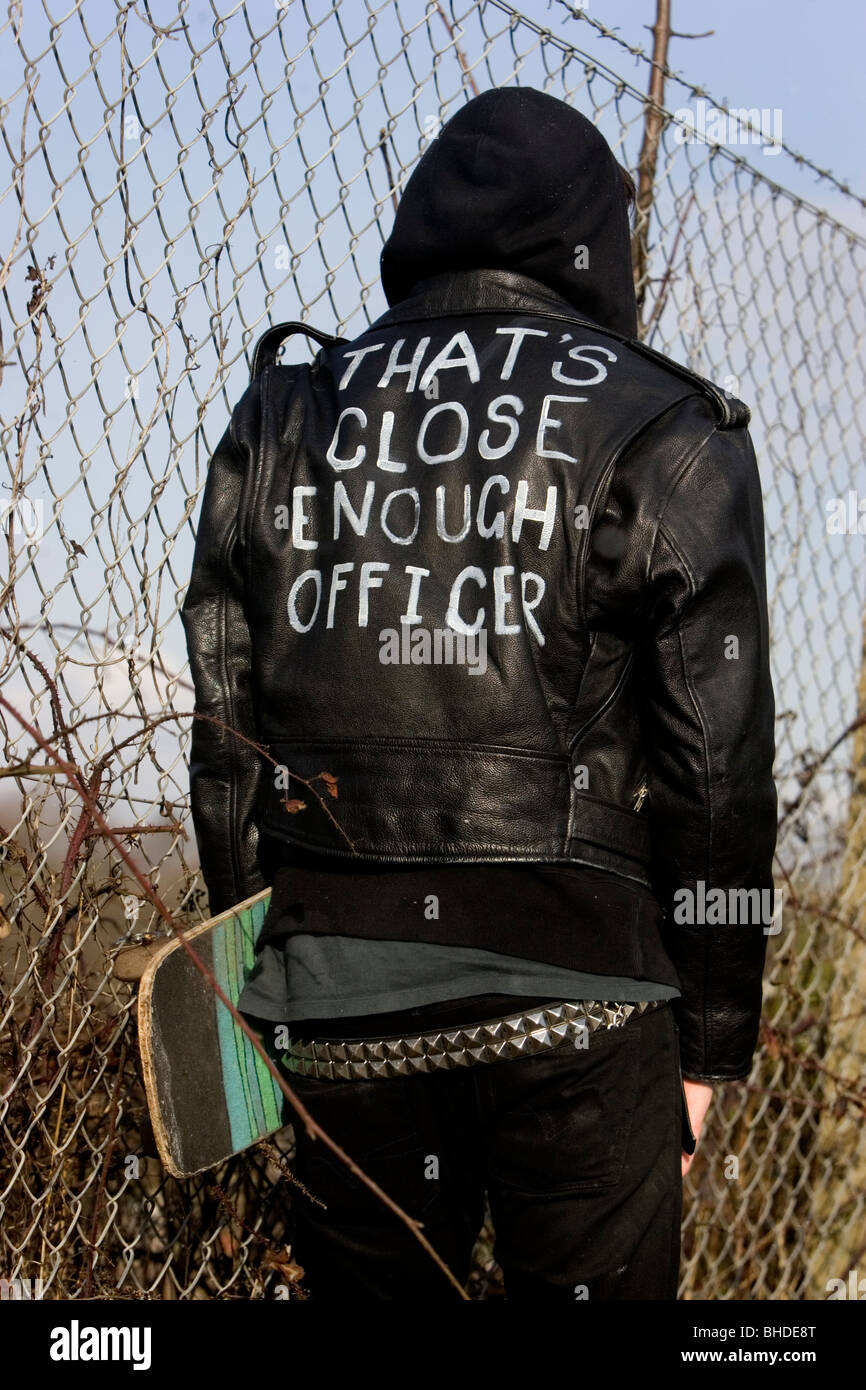 Leather jacket punk - Modern Punk Skate Border Pictured Wearing A Black Leather Jacket Which Reads That S Close Enough