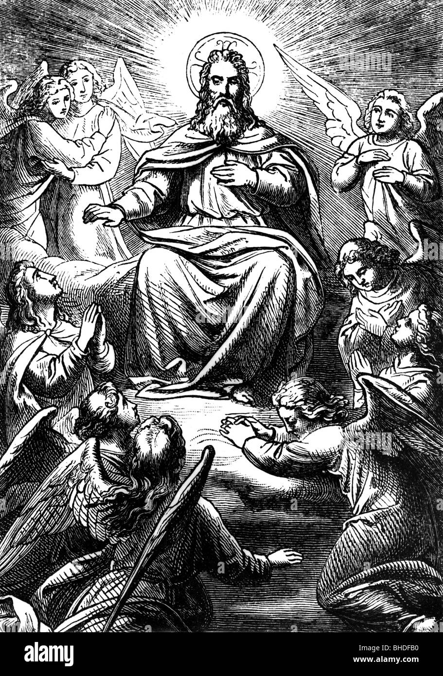 religion, god, illustration of God the Father, surrounded by ...