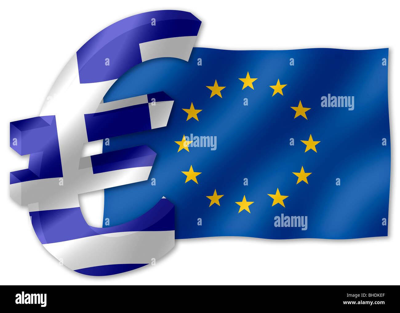 Euro currency symbol in 3d with greek national flag inset into euro currency symbol in 3d with greek national flag inset into facets and european union flag in the background biocorpaavc Images