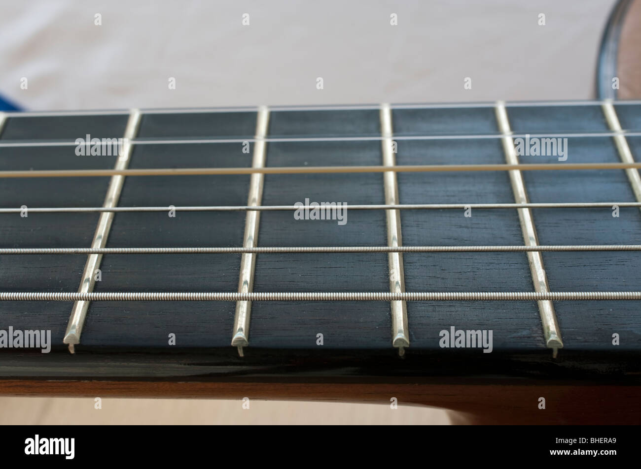 Classical Guitar With Nylon Strings And Ebony Fingerboard In Close Up
