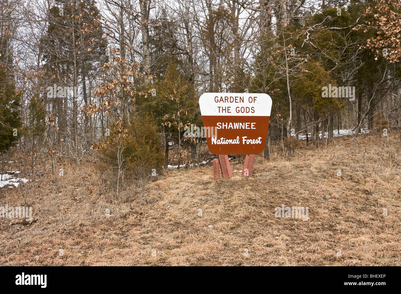 Garden Of The Gods Sign. Shawnee National Forest, Illinois USA   Stock Image